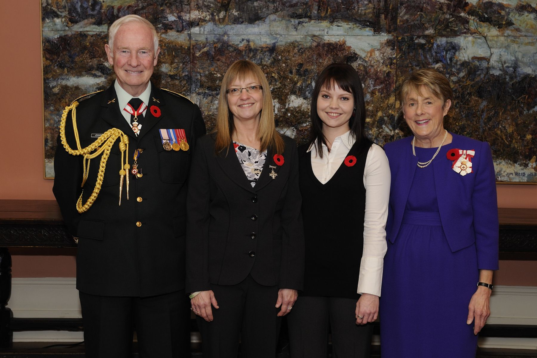 Their Excellencies hosted a luncheon at Rideau Hall to pay tribute to this year's National Silver Cross Mother, Mrs. Patricia (Patty) Elaine Braun (right of the Governor General), whose son, Corporal David Robert William Braun, was killed by a suicide bomber in a vehicle attack while on patrol in Kandahar, Afghanistan, on August 22, 2006. Each year, the Silver Cross Mother is chosen by the Royal Canadian Legion to attend the National Remembrance Day Ceremony on behalf of all Canadian mothers who have lost children in the service to their country. Mrs. Braun's daughter Katie (left of Her Excellency) also attended the luncheon.