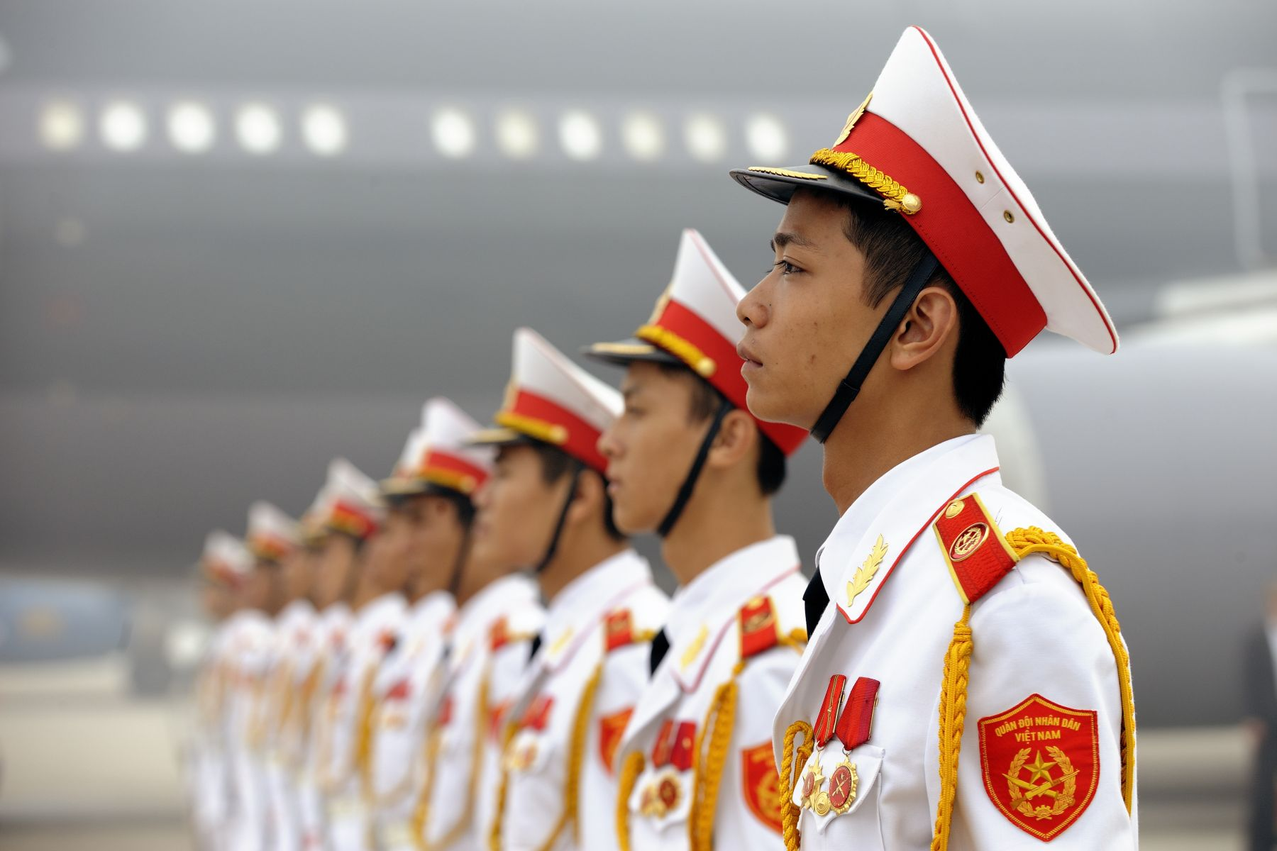 Sentinels stood guard during the official departure from the capital city of Hanoi, Socialist Republic of Vietnam.