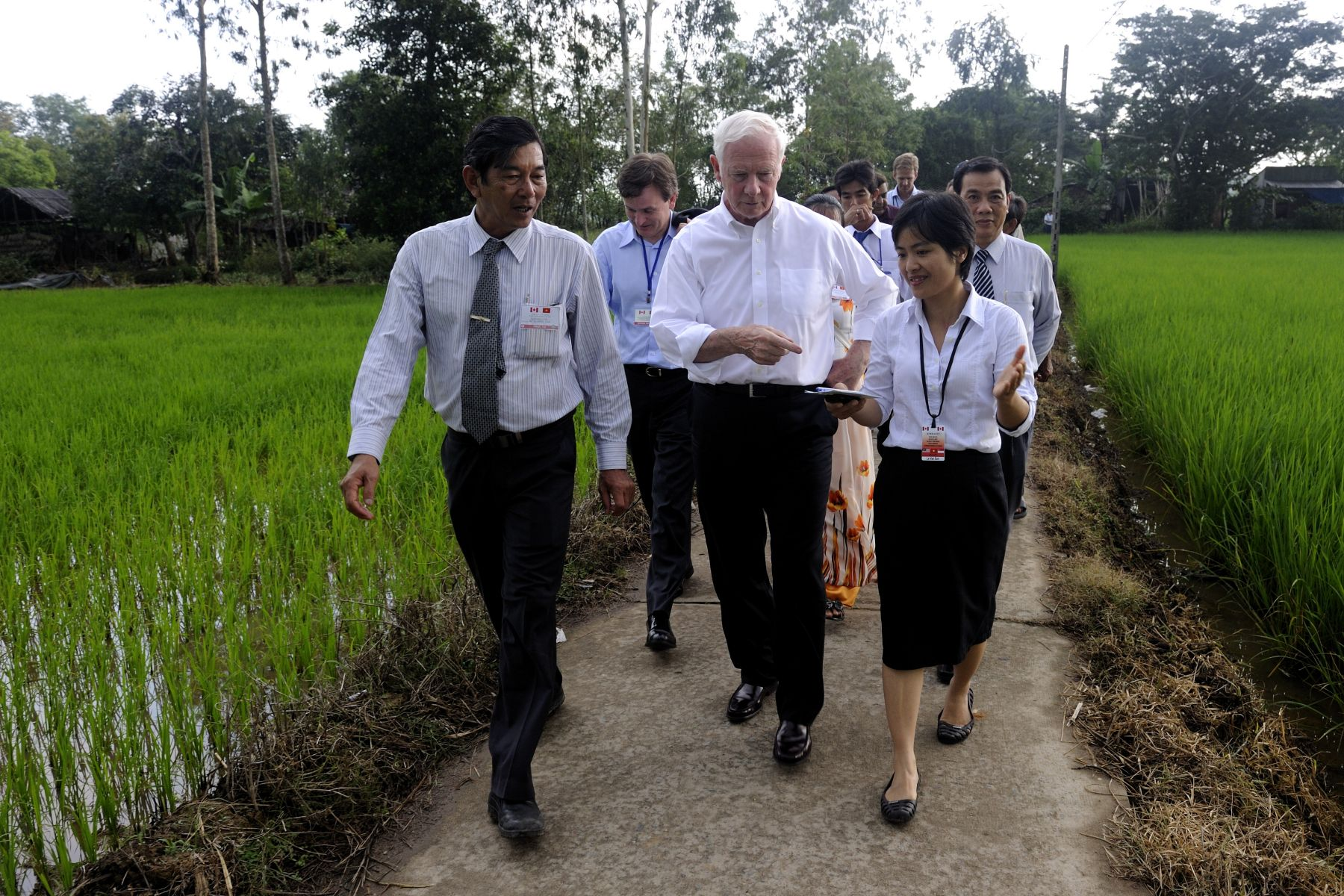 The governor general had the opportunity to visit a fragrant rice field and observe the application of an organic rice pesticide. They also visited a Khmer dairy farm and a milk collection point of the Evergrowth Dairy Cooperative, which are both supported as part of Canadian International Development Agency (CIDA) project.
