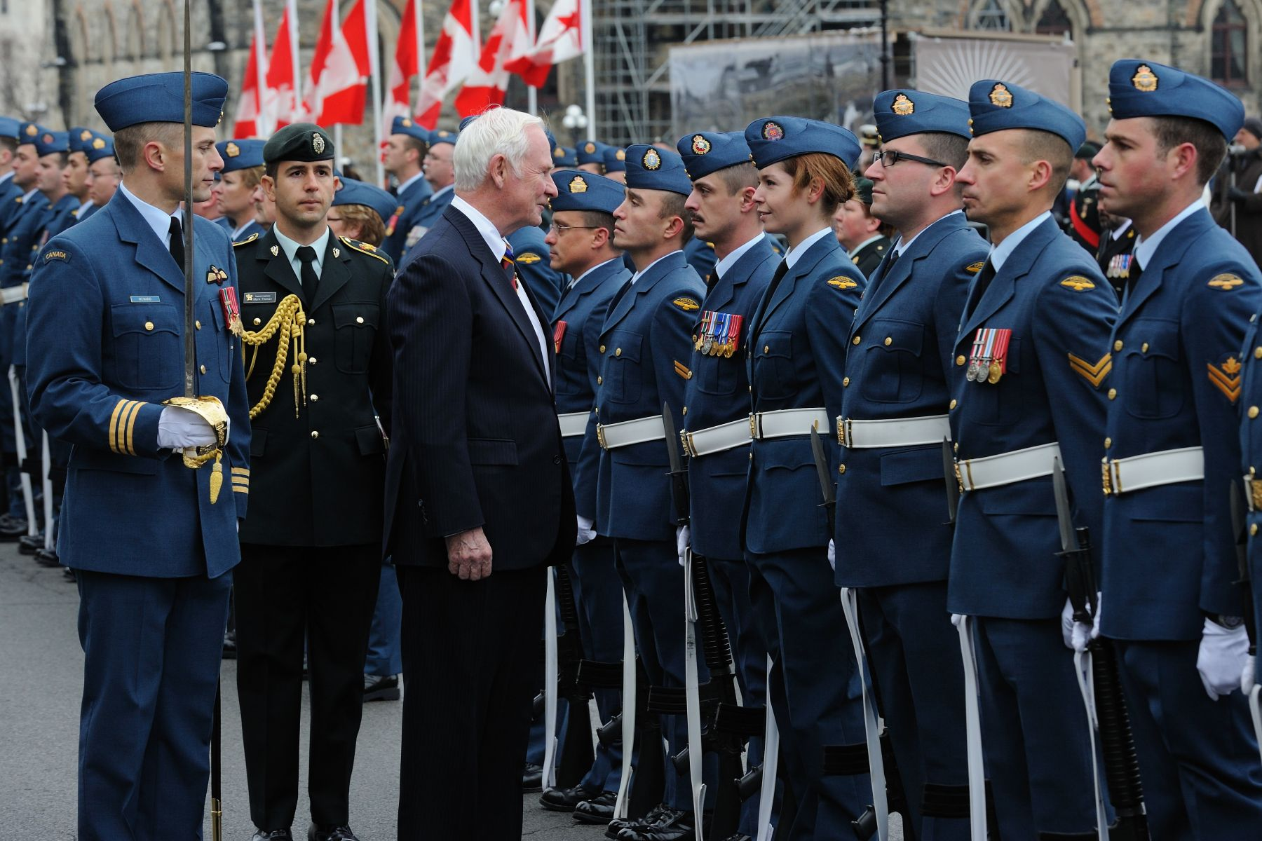 The Guard Commander invited the Governor General to inspect the Guard of Honour.
