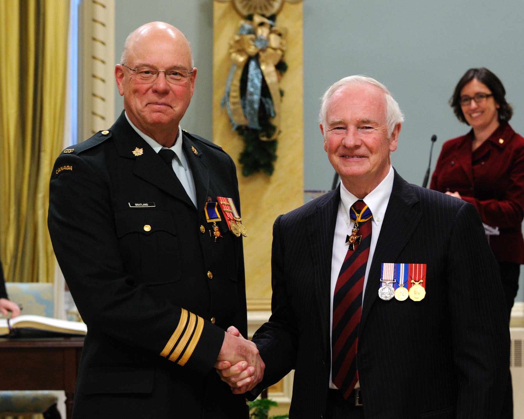 His Excellency presented the Order of Military Merit at the Officer level (O.M.M.) to Lieutenant-Colonel Allan Bratland, O.M.M., C.D., Regional Cadet Support Unit Prairie, Winnipeg, Manitoba.