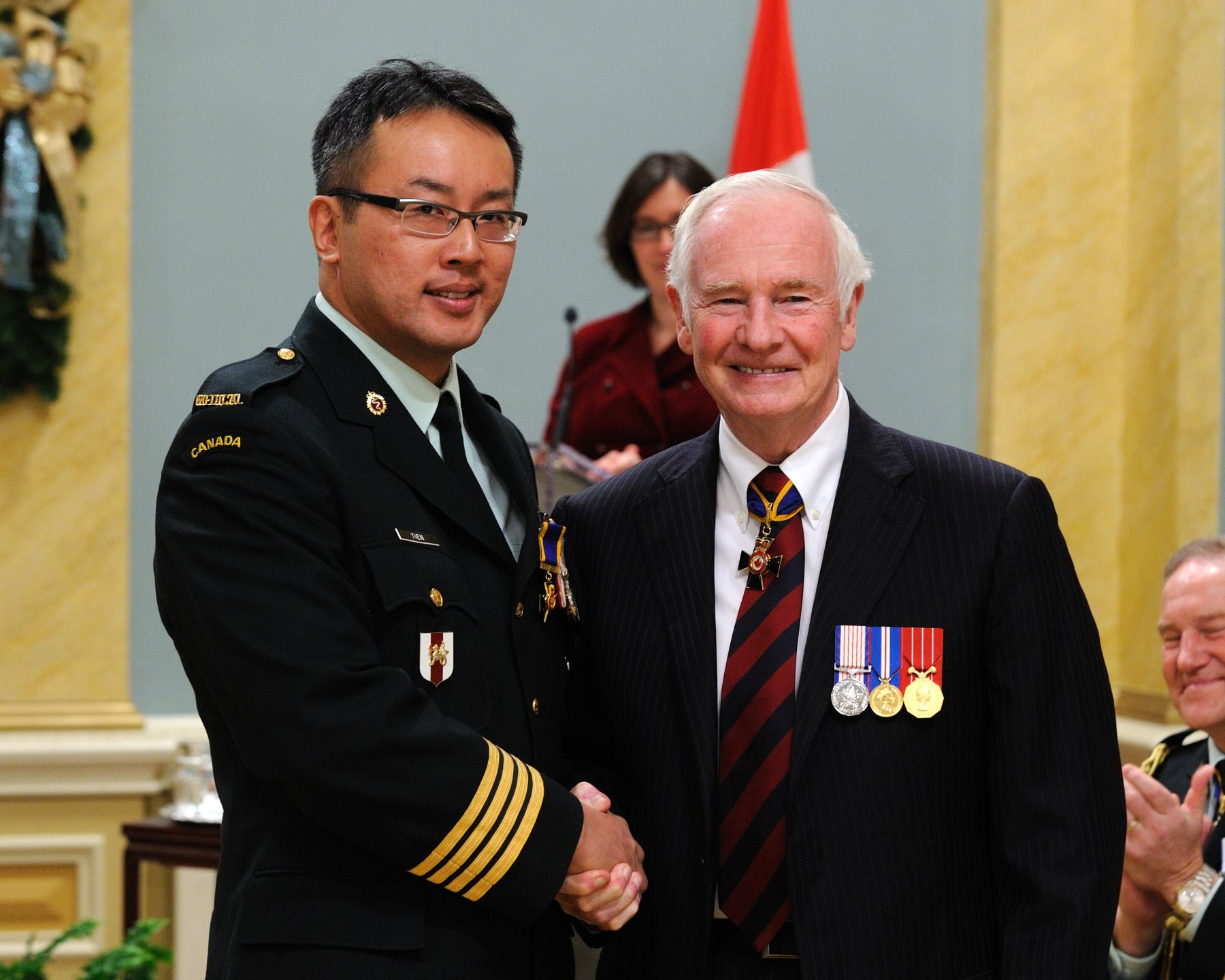 His Excellency presented the Order of Military Merit at the Officer level (O.M.M.) to Lieutenant-Colonel Homer Tien, O.M.M., C.D., 1 Canadian Field Hospital, Petawawa, Ontario.