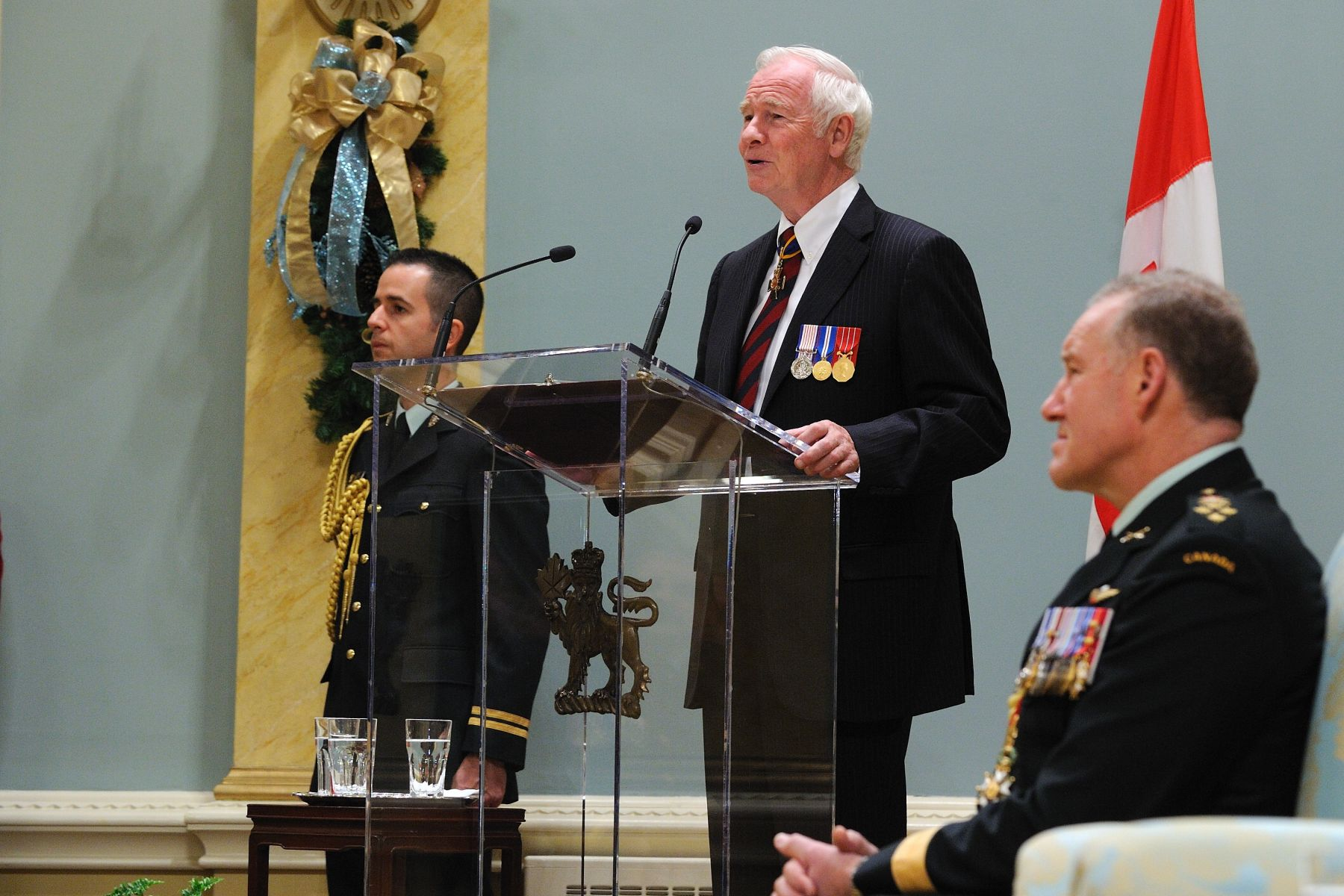 "His Excellency the Right Honourable David Johnston, Governor General and Commander-in-Chief of Canada, presided over an Order of Military Merit investiture ceremony at Rideau Hall on December 2, 2011. ""Let me speak for a moment on merit,"" said His Excellency. ""The motto of the Order, ""Service before Self,"" is fitting, as every single member has shown that being a member of the Canadian Forces is not a job, but a calling. They have gone above and beyond all expectations and have brought great honour to this country."""