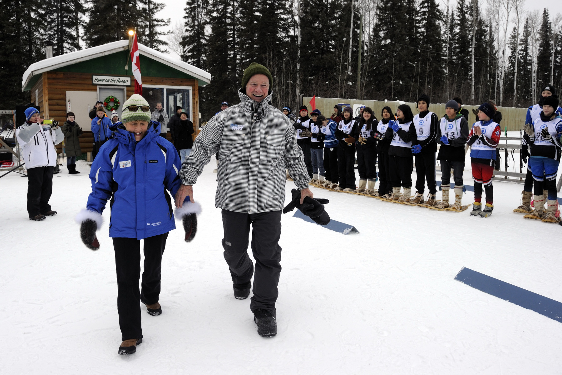 During their visit to the Hay River Ski Club, Their Excellencies had the opportunity to see athletes compete in the biathlon team tryouts in the hopes of attending the 22nd Arctic Winter Games.