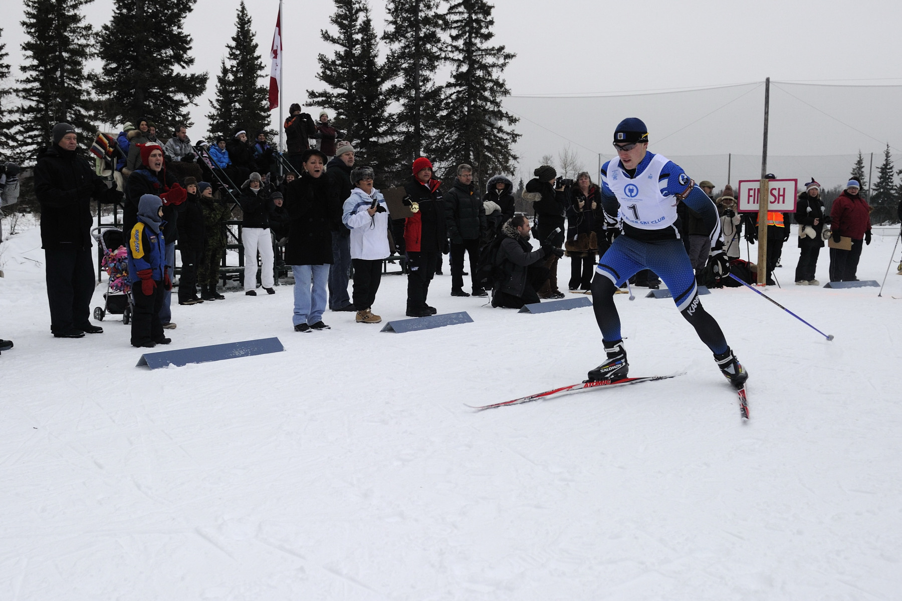 Spectators at the Hay River Ski Club cheered on athletes as they tried out for the biathlon team.