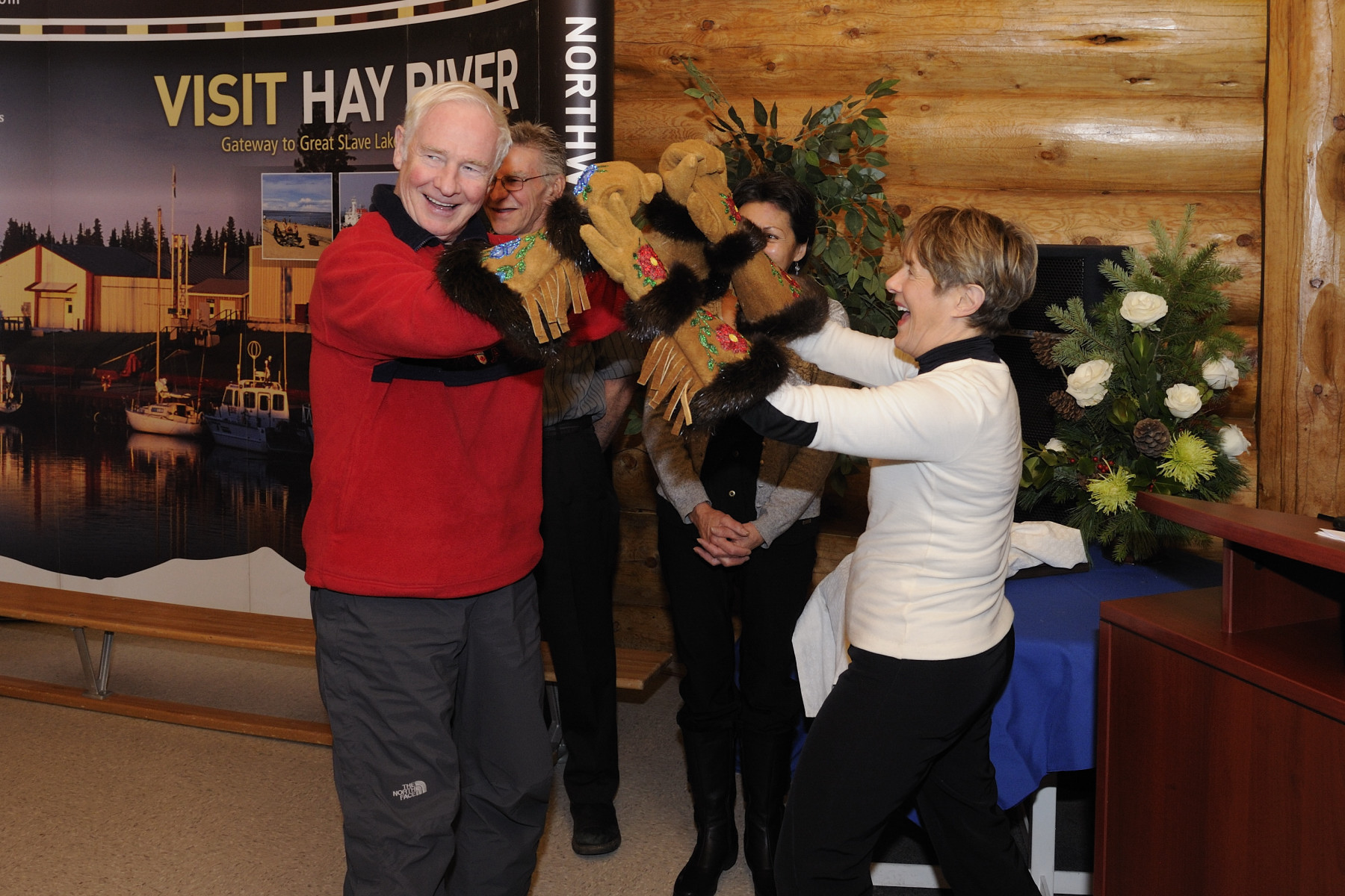 During the community reception in Hay River, Their Excellencies were presented with traditional Aboriginal leather gloves.