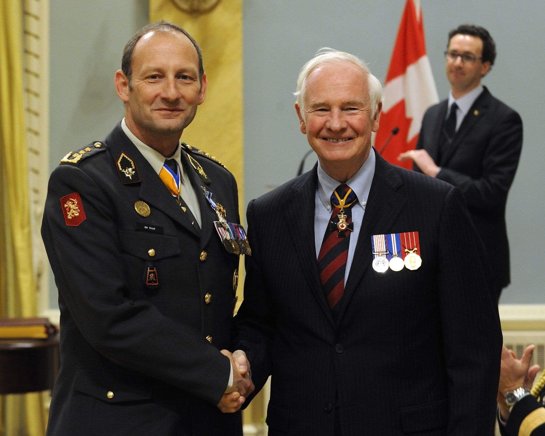 Major-General Mart C. de Kruif, M.S.M. (Royal Netherlands Army) received the Meritorious Service Medal (Military Division) from His Excellency. As commander of Regional Command (South) from November 2008 to November 2009, Major-General de Kruif consistently acknowledged and promoted Canada's contribution to allied military efforts in Afghanistan. With compassion and respect for Canadian soldiers, he ensured their welfare and security, and provided outstanding support to the command teams of two Canadian task forces. Demonstrating world-class leadership, unwavering dedication and keen operational understanding, Major-General de Kruif's command of Canadian soldiers was exemplary and provided great benefit to Canada.