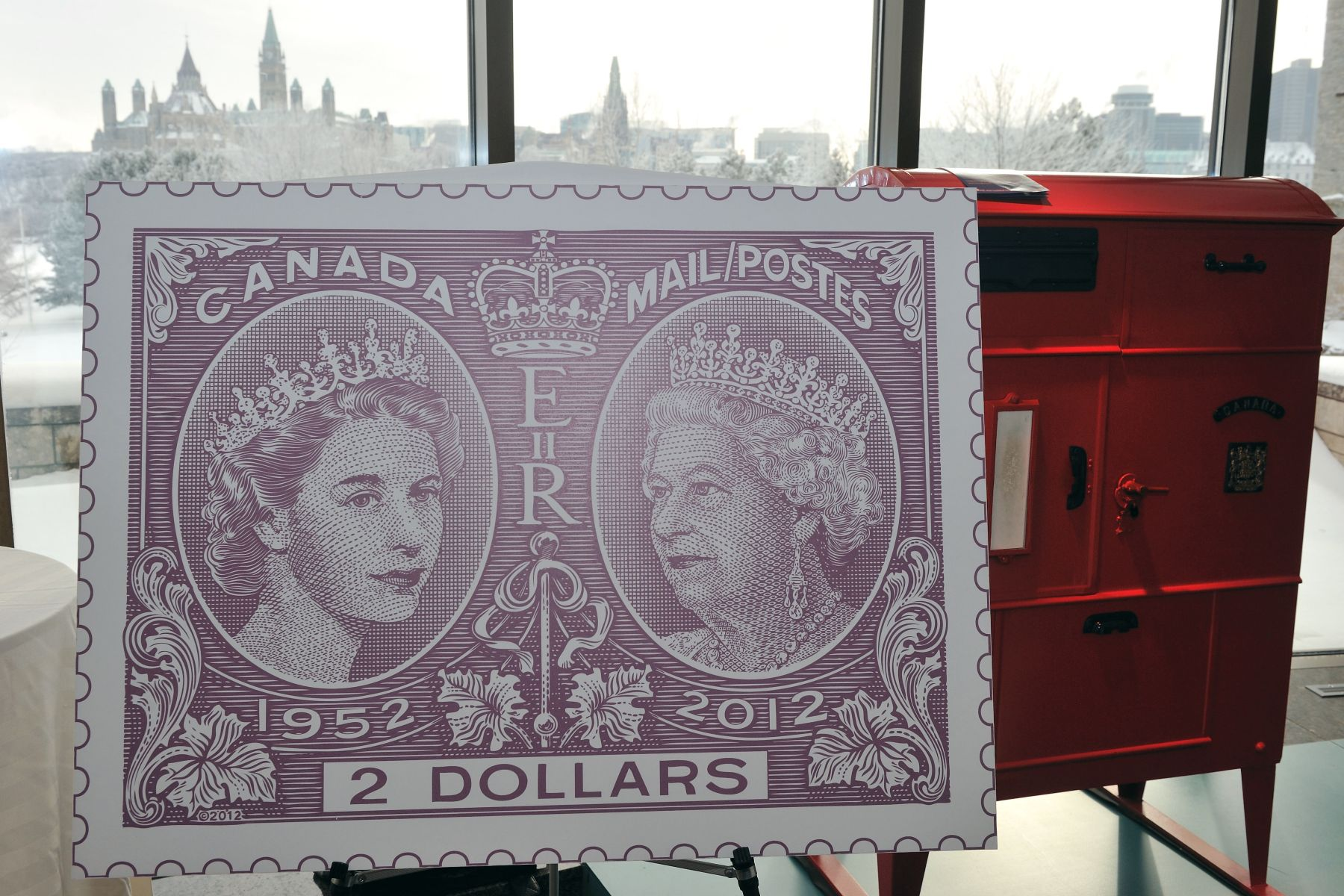 The final stamp issue will feature an engraved stamp with two portraits of The Queen, a design inspired by the famous Canadian stamp issued, in 1897, for Queen Victoria's Diamond Jubilee.