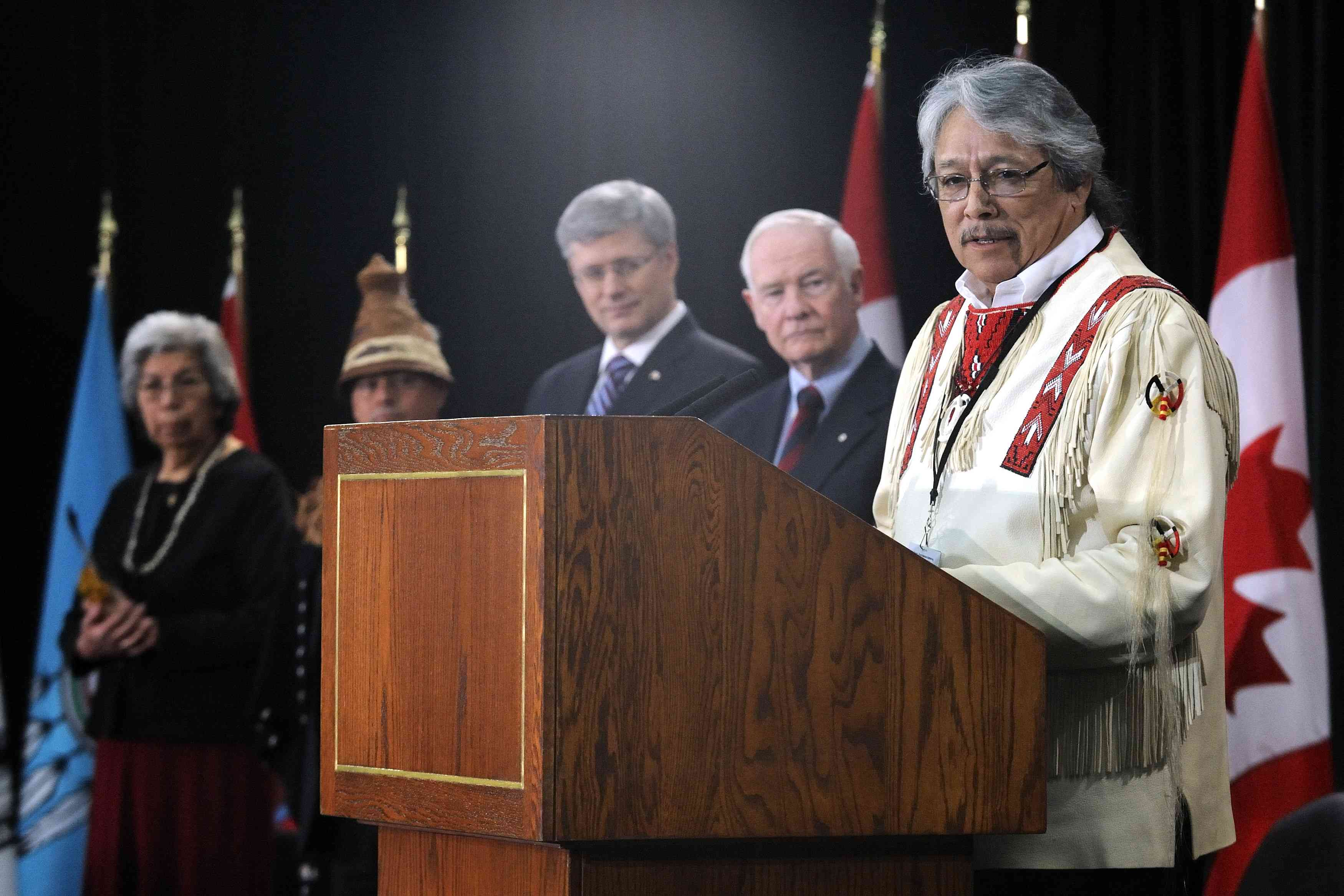 Elder Dave Courchene explained the significance of the Honour Song performed when the procession was entering Victoria Hall, at the John G. Diefenbaker building, in Ottawa.