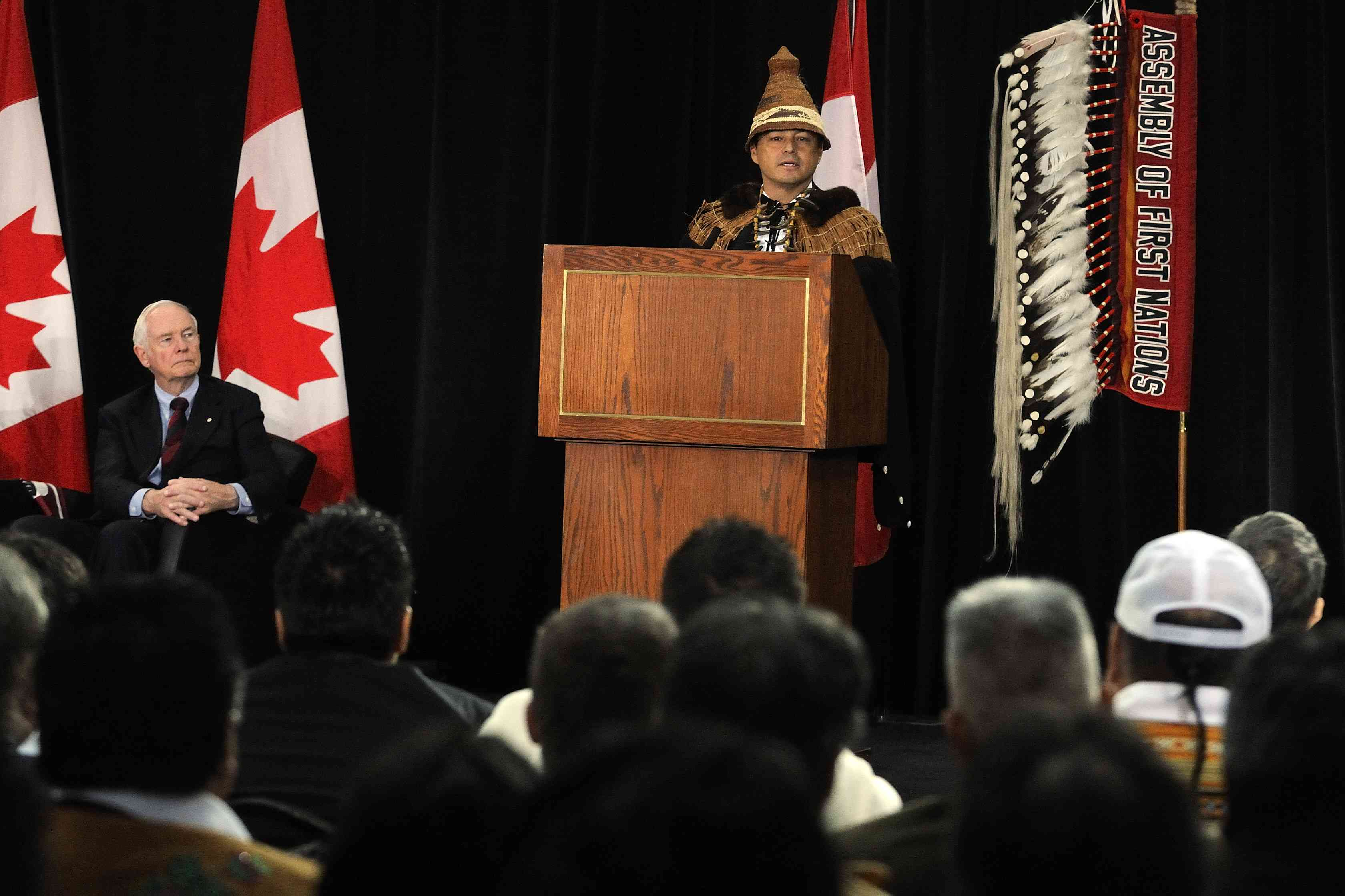 Shawn A-in-chut Atleo, National Chief of the Assembly of First Nations, also delivered remarks during this historic event.