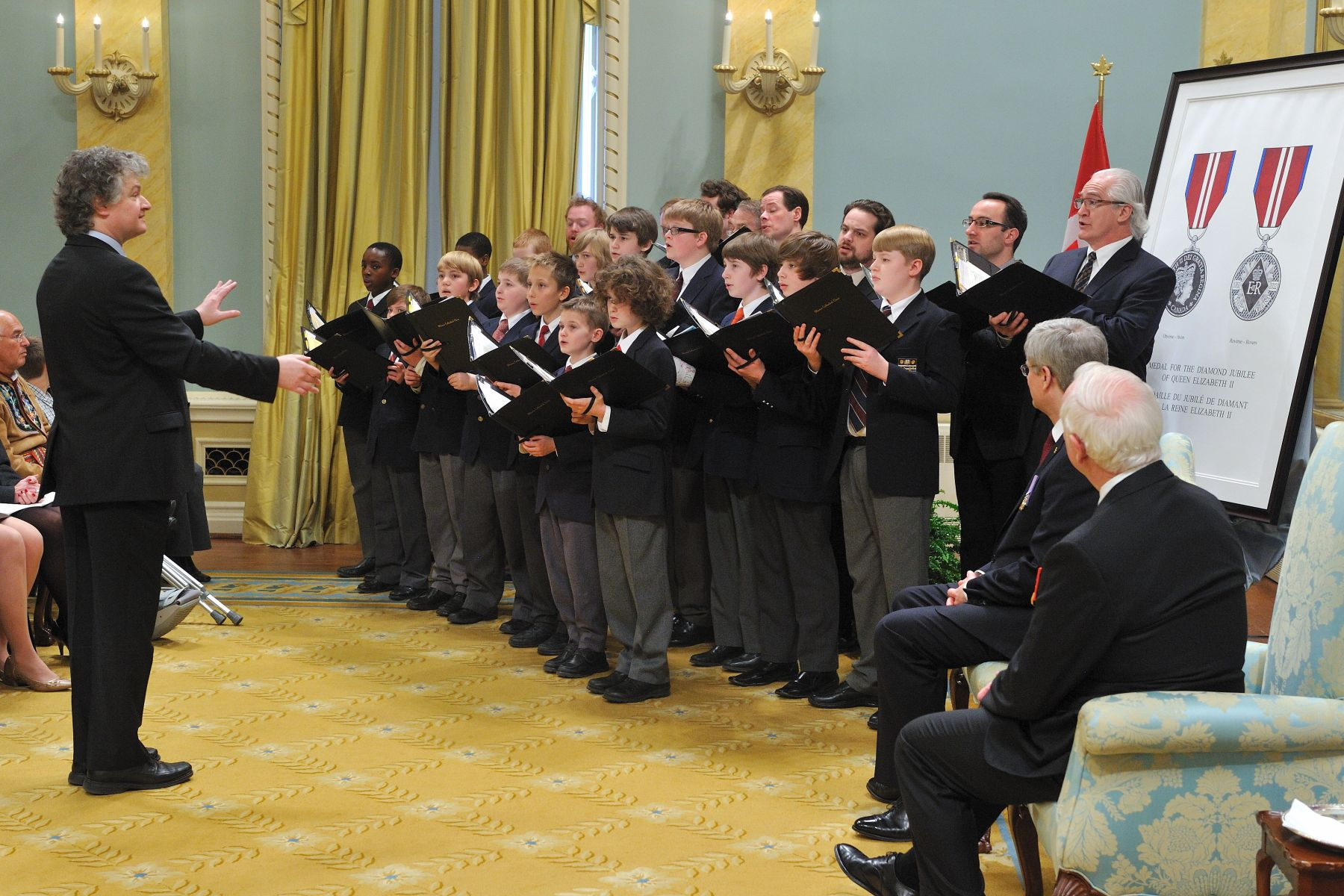 During the ceremony, the Ottawa Cathedral Choir of Men and Boys performed two songs that were also performed during Her Majesty Queen Elizabeth II's coronation ceremony at Westminster Abbey in June 1953.
