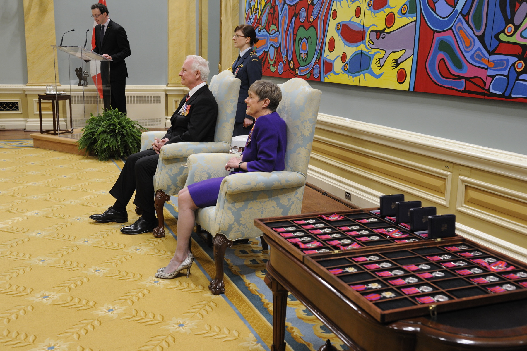 On February 24, 2012, the Right Honourable David Johnston, Governor General of Canada, presented 46 Decorations for Bravery, during a presentation ceremony at Rideau Hall.