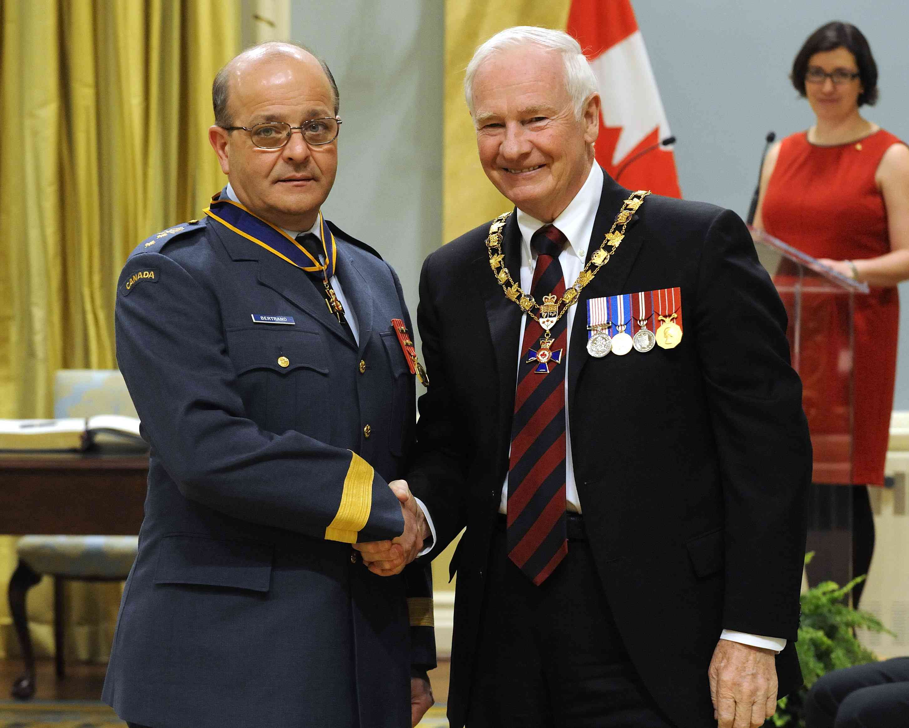 His Excellency presented the Order of Military Merit at the Commander level (C.M.M.) to Major-General Robert Bertrand, C.M.M., C.D., Assistant Deputy Minister (Finance and Corporate Services), Ottawa, Ontario.