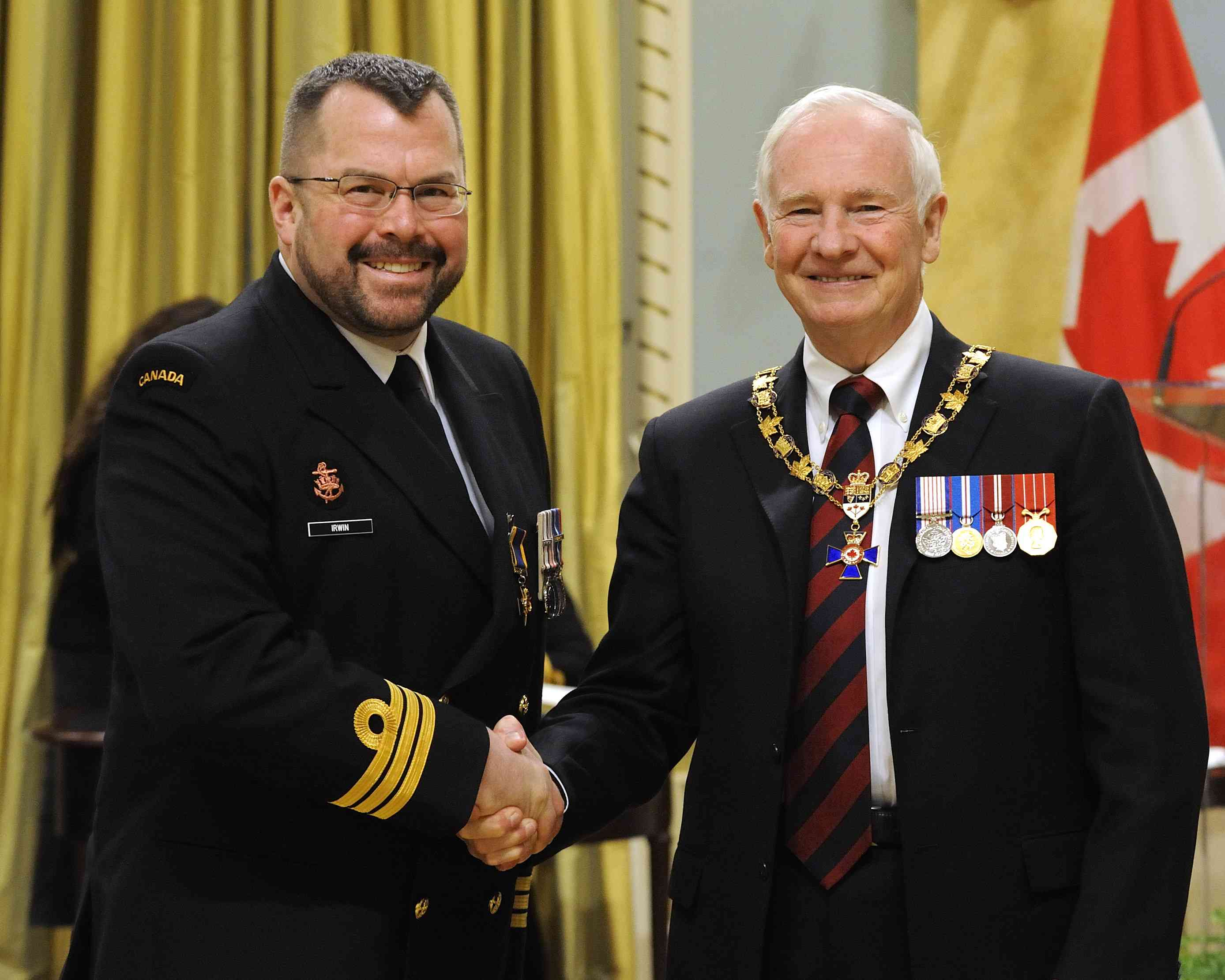 His Excellency presented the Order of Military Merit at the Officer level (O.M.M.) to Commander Stephen Irwin, O.M.M., C.D., Maritime Forces Pacific Headquarters,