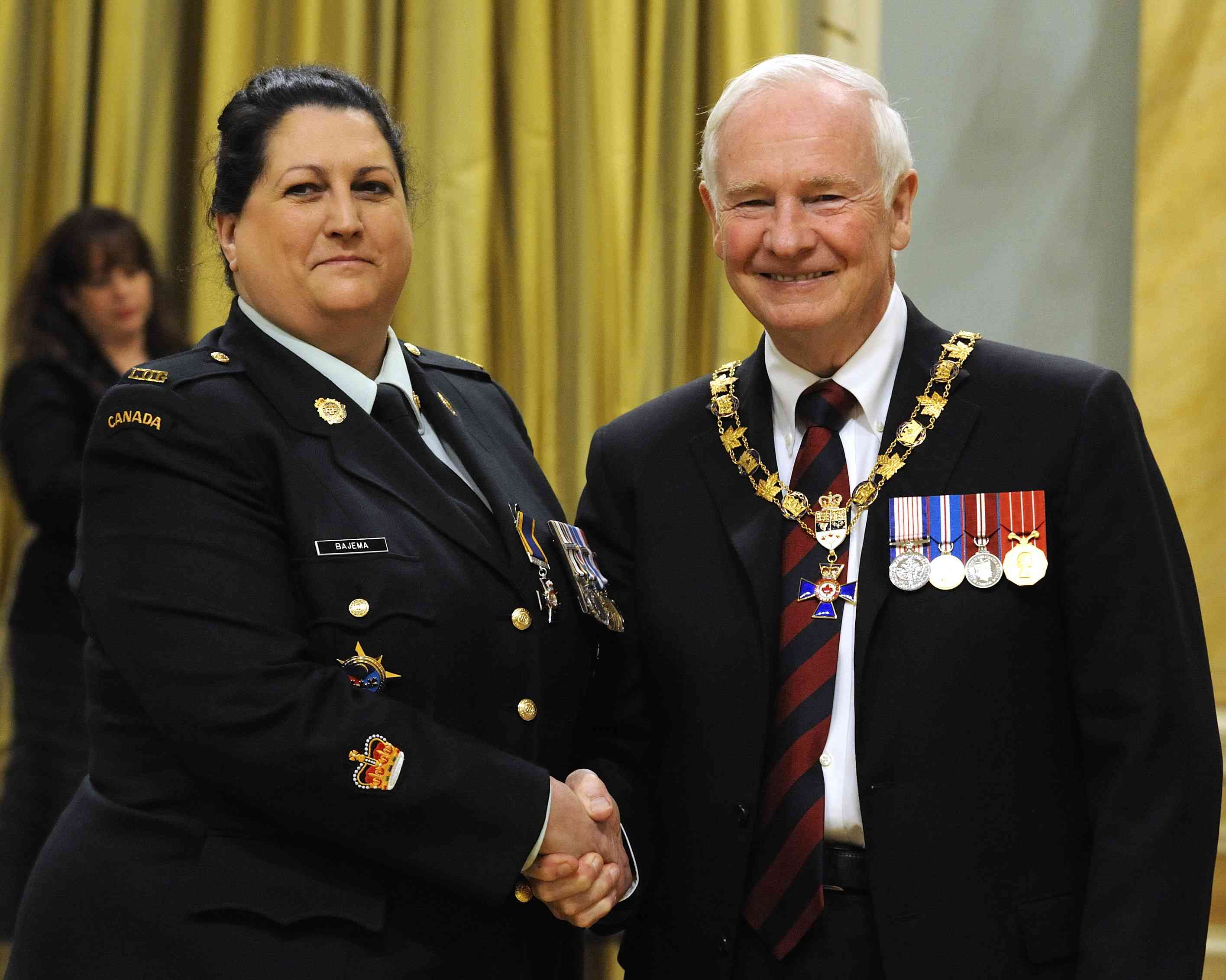 His Excellency presented the Order of Military Merit at the Member level (M.M.M.) to Warrant Officer Barbara Bajema, M.M.M., C.D., Canadian Forces Joint Signal Regiment