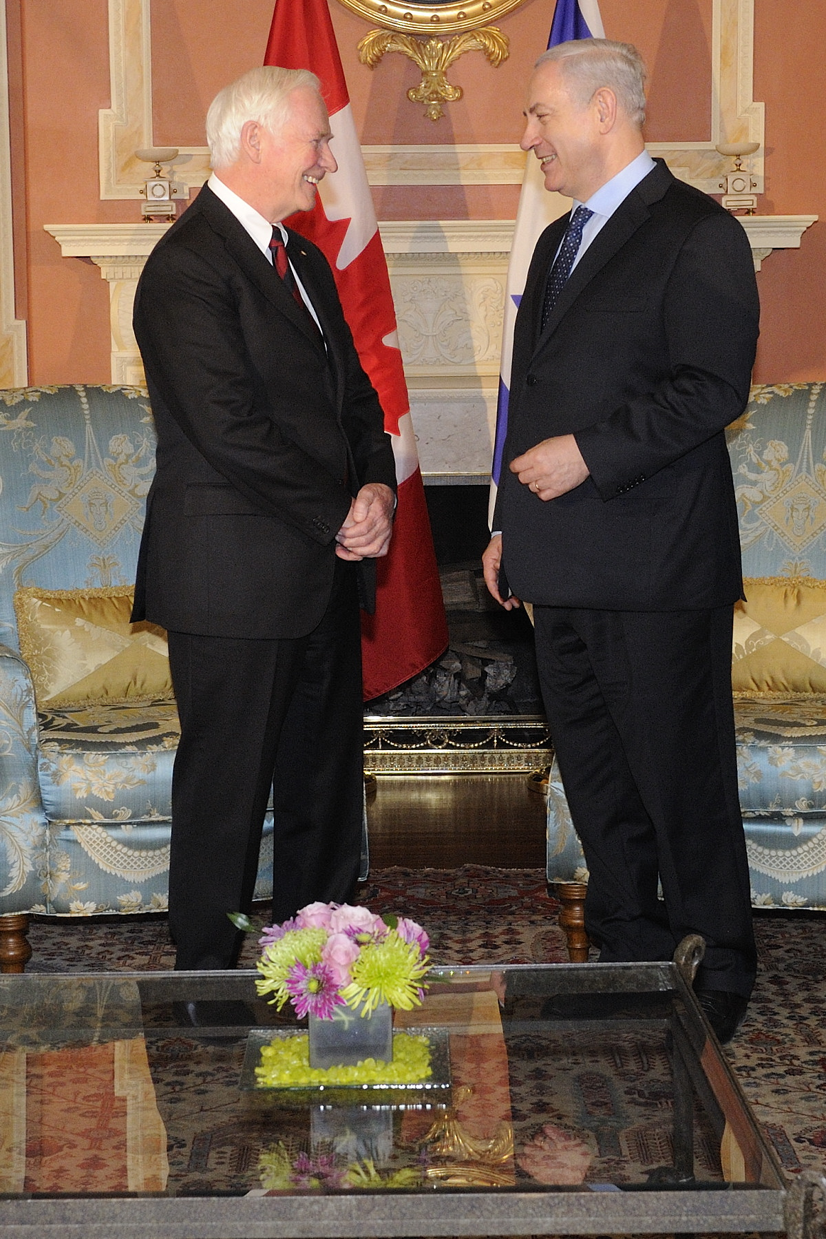 Following a morning at Parliament, His Excellency Benjamin Netanyahu, Prime Minister of the State of Israel, was at Rideau Hall for a courtesy call.