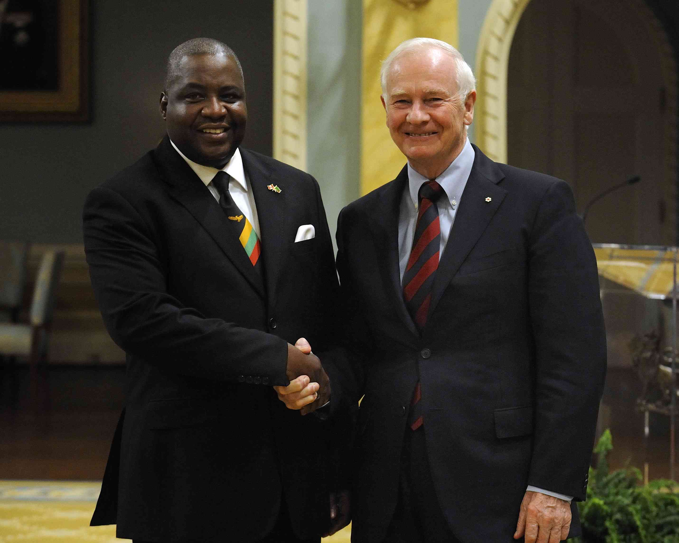 The Governor General received the credentials of His Excellency Bobby Mbunji Samakai, High Commissioner for the Republic of Zambia.