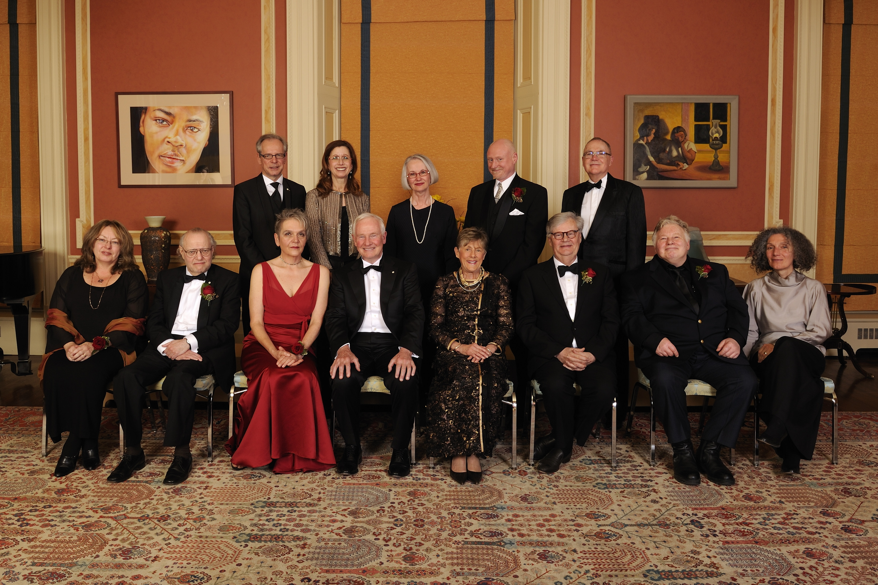 Official photo of Their Excellencies with the laureates of the 2012 Governor General's Awards in Visual and Media Arts.