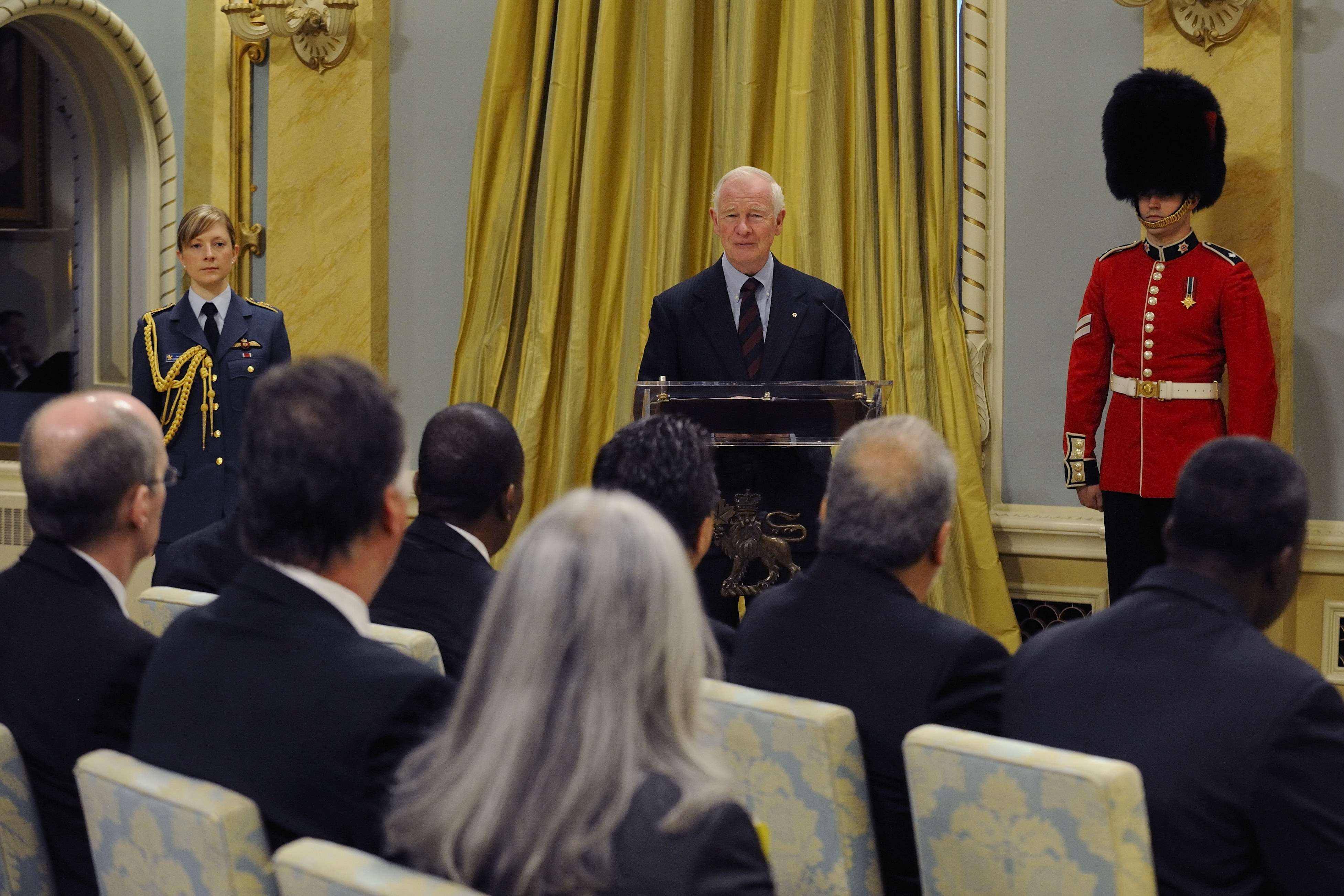 """As representatives of your respective nations, you know the vital importance of working together,"" said His Excellency. ""You know that positive international relations are built on trust, respect and sharing, and that these sentiments are earned and renewed, or eroded, on a daily basis. Because you are so committed to diplomacy in all its forms, I am delighted to welcome you to Canada today."""