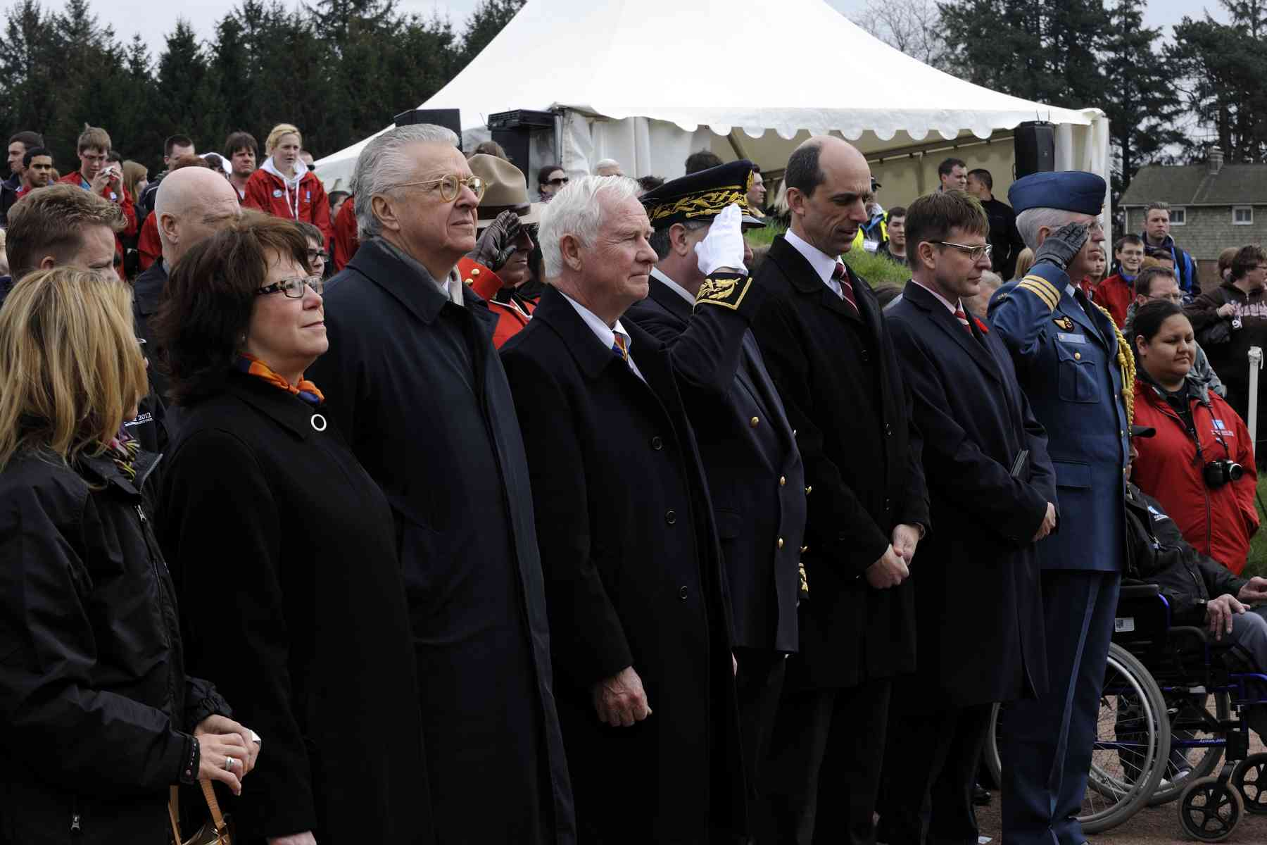 Steven Blaney, Minister of Veterans Affairs, also attended the event. During is time in France and Belgium, the Governor General will actually join a Canadian delegation and nearly 5 000 Canadian students to take part in special events commemorating the 95th anniversary of the Battle of Vimy Ridge.