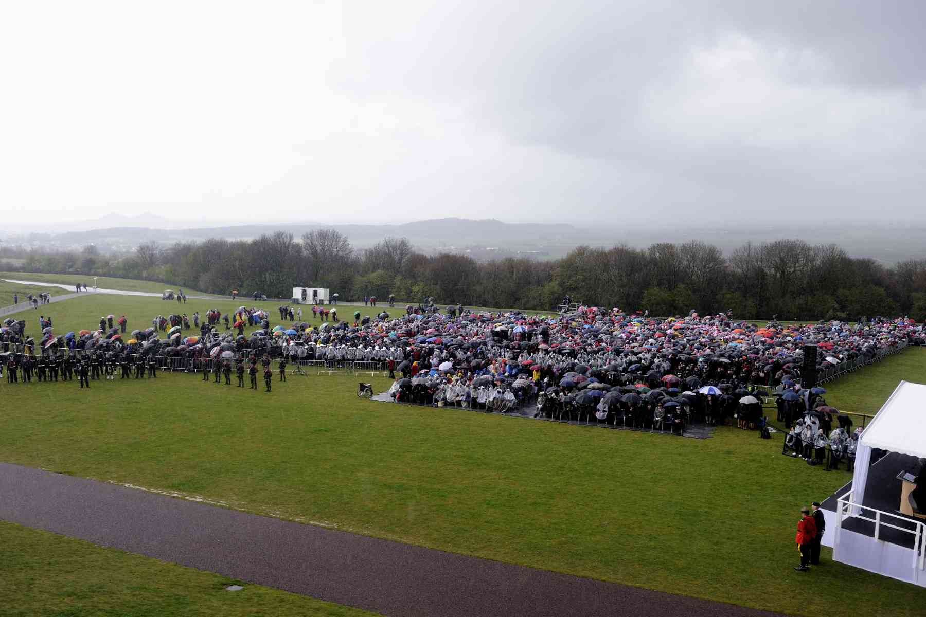 Thousands of Canadians gathered in Vimy, under the rain, for the occasion.