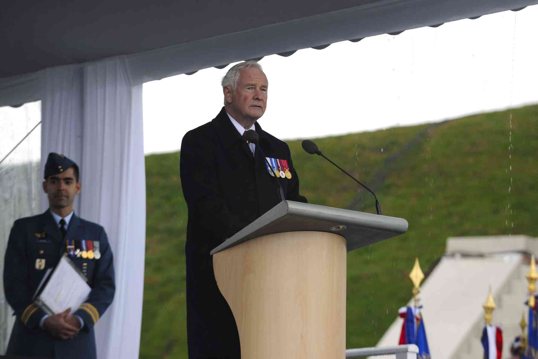 "His Excellency delivered a speech at the remembrance ceremony at Vimy: ""What should all Canadians recognize and remember 95 years later—95 years after the single bloodiest day in Canadian military history? We recognize and should always remember that out of the staggering death and destruction of that battle, out of the stunning carnage of that day, out of the cruellest conflict in our national life, we Canadians have been able to grasp and carry forward something that is true and honourable and lasting: that we are a smart and caring nation, that to prosper we must become ever smarter, ever more caring, and that when we work together in a spirit of ingenuity and compassion, the best that Canadians have to give the world is the best that anyone can give."""