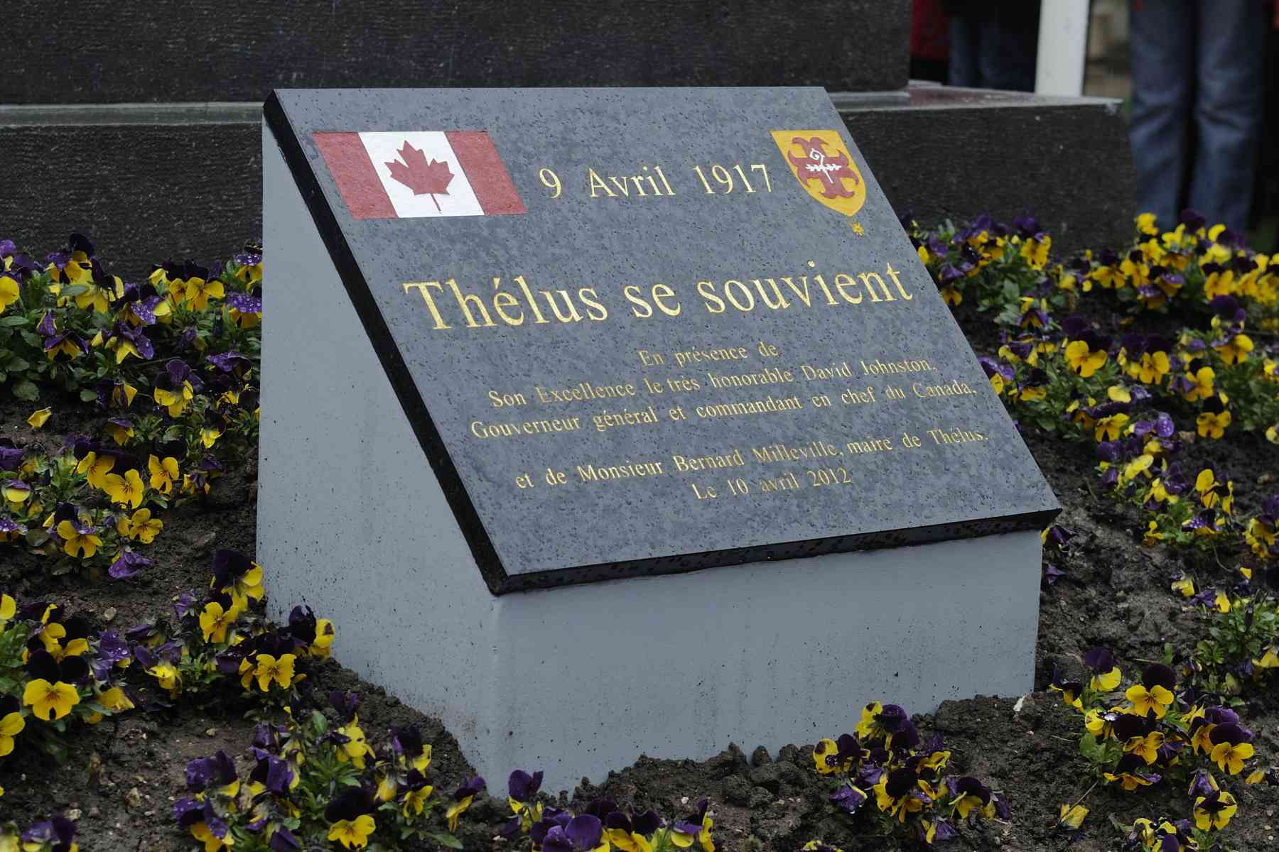 The plaque is a reminder of the battle won by the First Division of  Canadian Corps Artillery on April 9, 1917.
