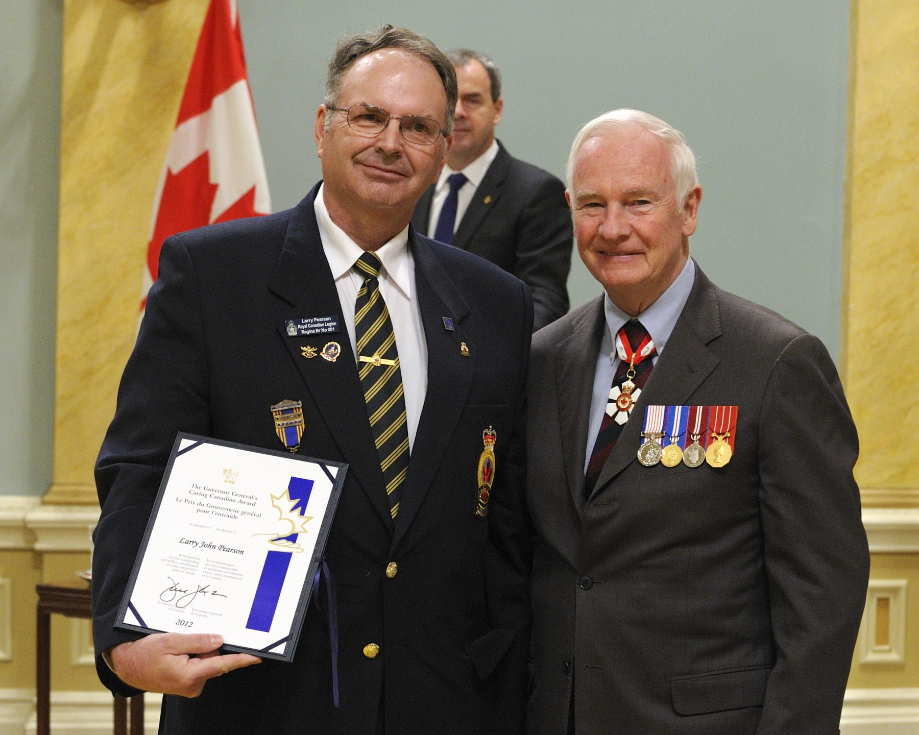 Despite having never served in the Canadian Forces, Larry Pearson (Weyburn, Saskatchewan) is committed to ensuring its members are recognized. Active in his community's branch of the Royal Canadian Legion, he has organized parades that have included local veterans together with members of the local police and emergency services. He has also planned soirées and events to honour veterans returning from Afghanistan and has provided support for their families.