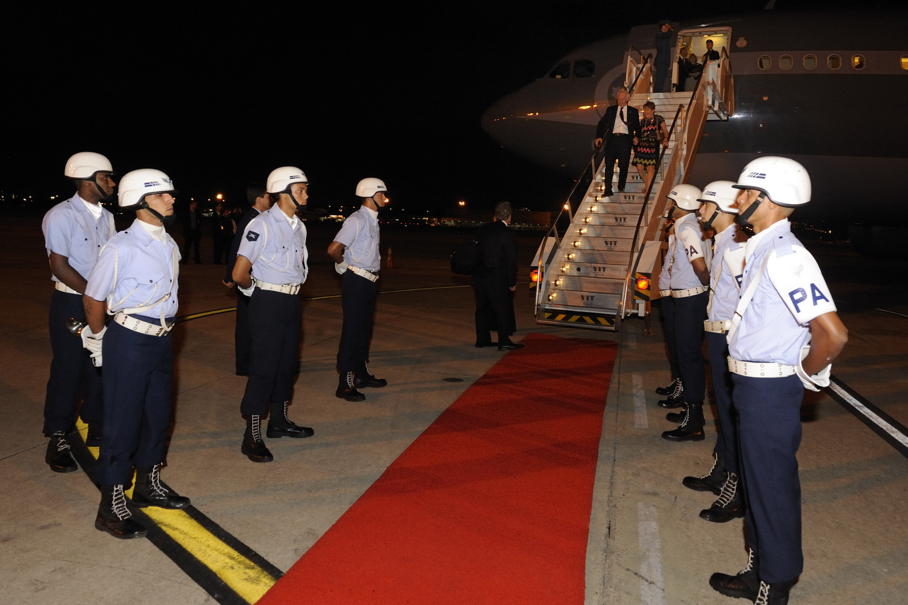 Upon their arrival in Rio de Janeiro later that evening, Their Excellencies were welcomed by government officials.