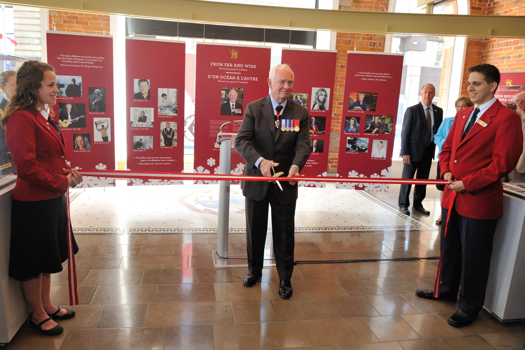 The ribbon cutting marked the official opening of the exhibit.