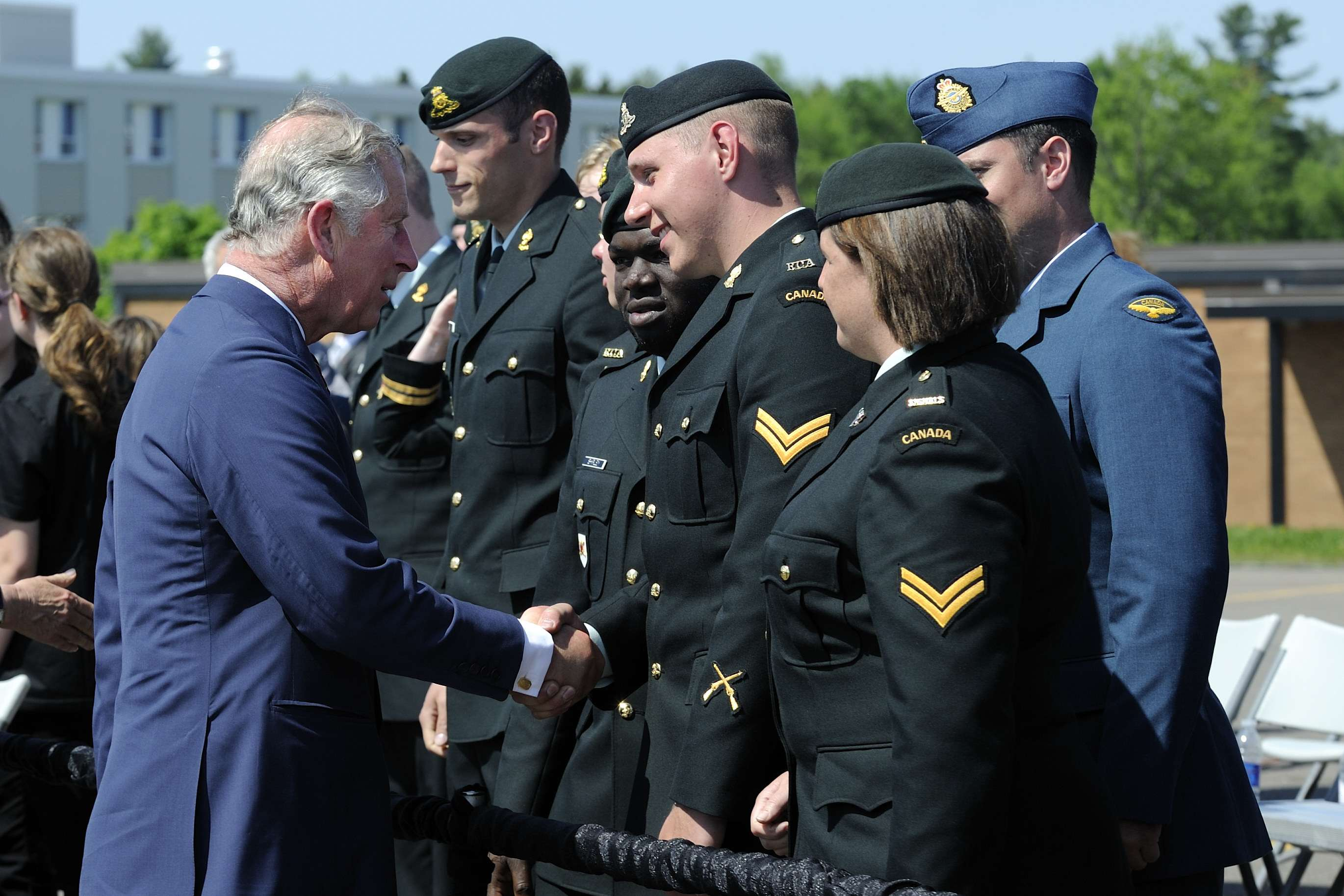 His Royal Highness, The Prince of Wales, took a few minutes to meet with some of the people who gathered at Gagetown for the official welcoming ceremony.