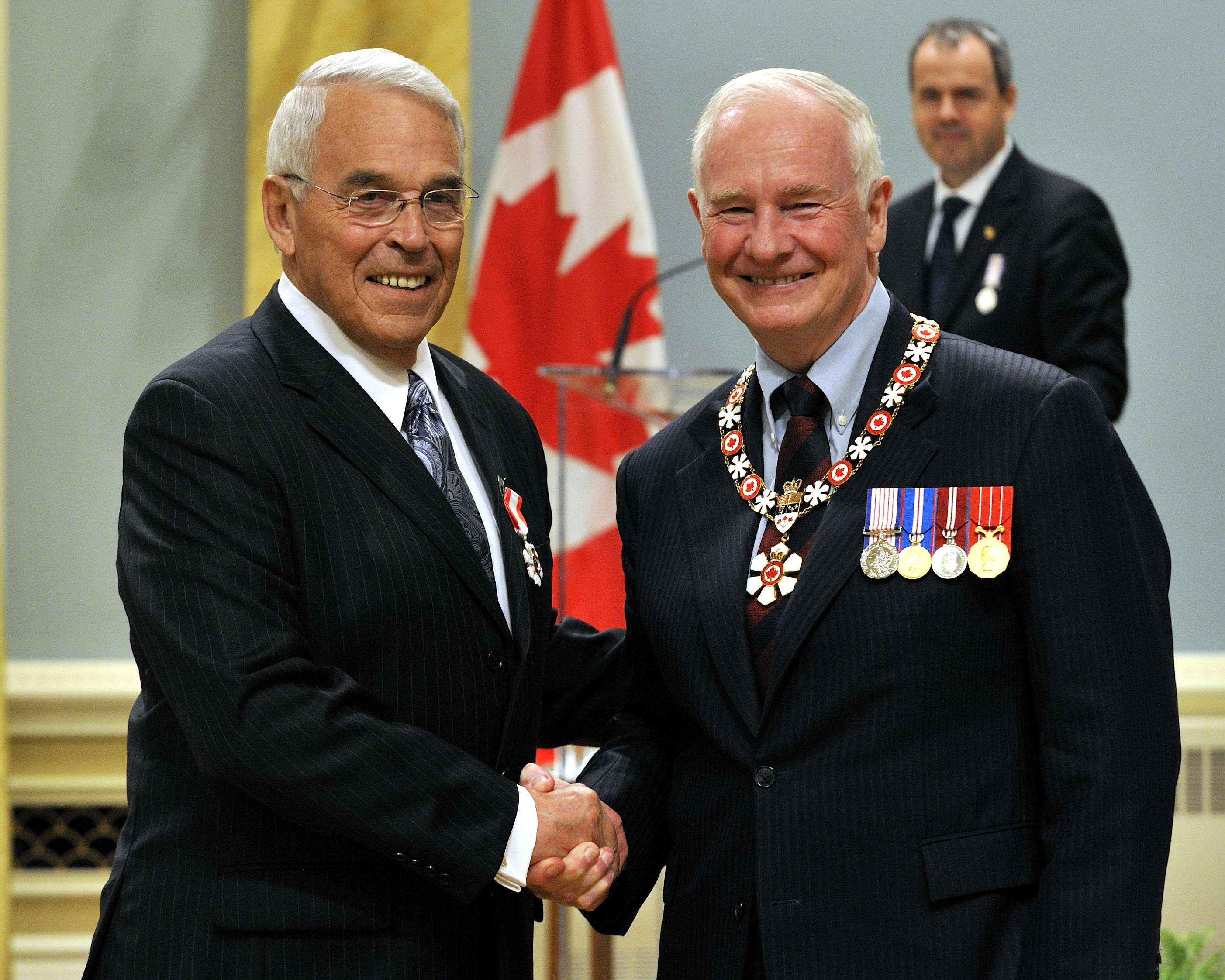 The Honourable Benoît Bouchard, P.C., C.M. (Roberval, Quebec) has served his country with dedication. Known as someone who brings people together, he was responsible for various portfolios as a federal politician. He notably distinguished himself as chair of the Transportation Safety Board of Canada, helping to build its reputation through the quality of its investigations and by promoting security. He is also known as a great listener, putting his diplomatic talents to use as ambassador to France and as chief federal negotiator in territorial negotiations with the Innu people of Quebec.