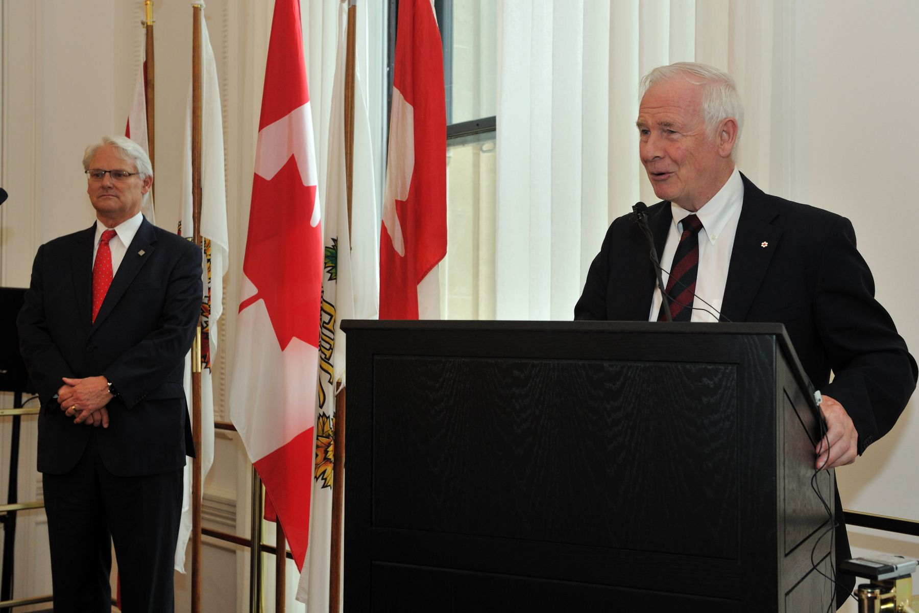 "The Governor General and Mr. Gordon Campbell, High Commissioner of Canada to the United Kingdom of Great Britain and Northern Ireland both delivered remarks. His Excellency said: ""The Diamond Jubilee is as much a celebration of Canada as it is a celebration of The Queen's lifetime of service. By remembering this as Canadians, we honour Her Majesty's devotion to our country."""