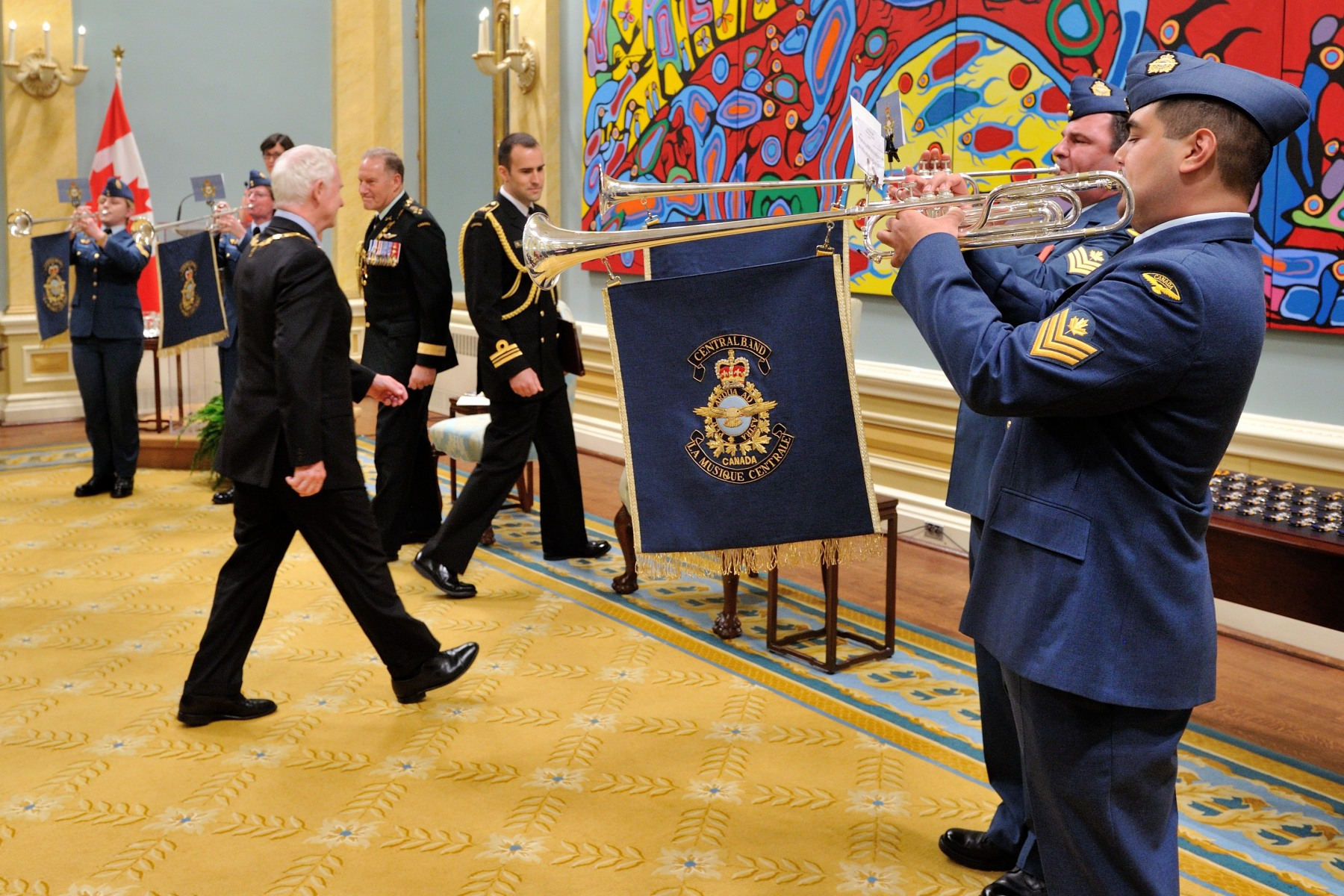 On this special occasion, a brass ensemble played during the vice-regal procession.