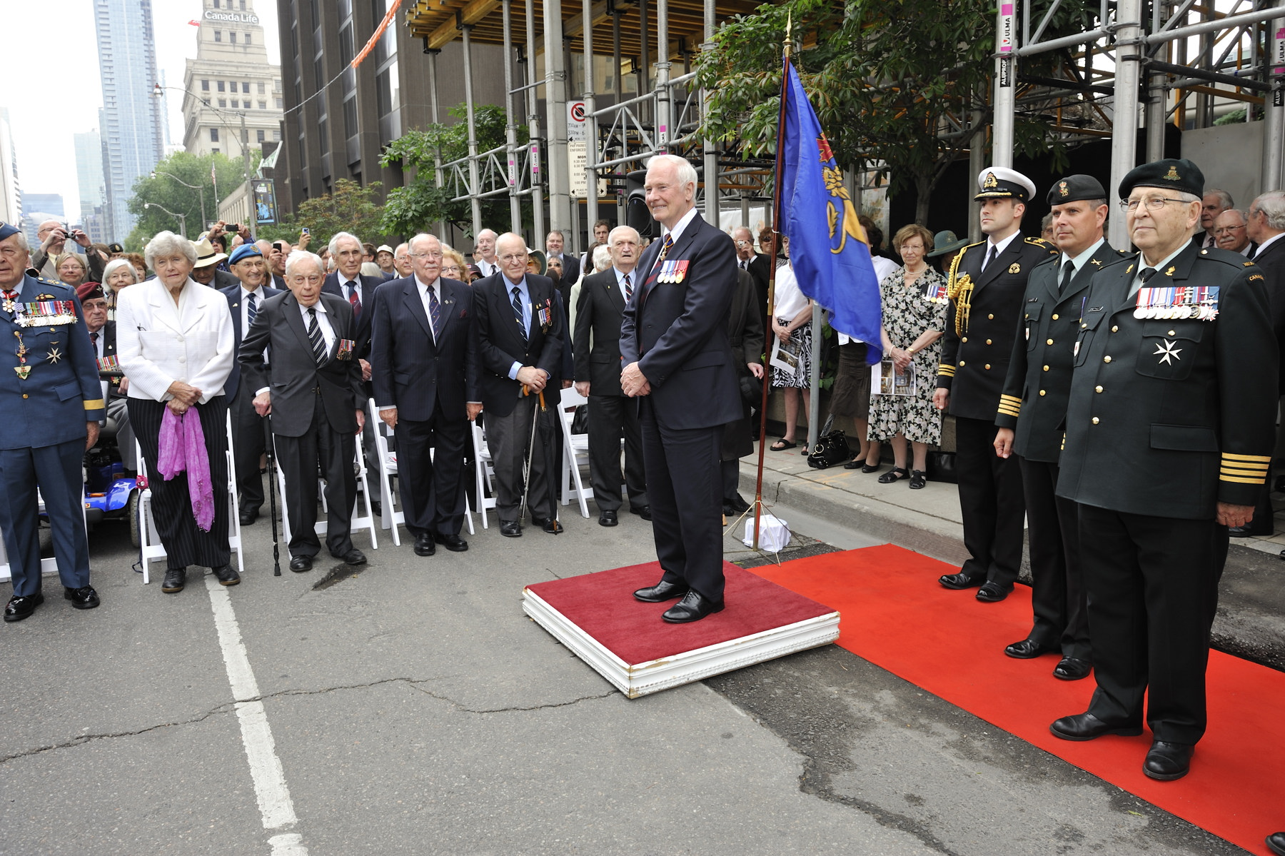 His Excellency the Right Honourable David Johnston, Governor General and Commander-in-Chief of Canada, unveiled the cornerstone for a new building housing the Royal Canadian Military Institute (RCMI), during a military ceremony that took place in Toronto, on Saturday, June 9, 2012.