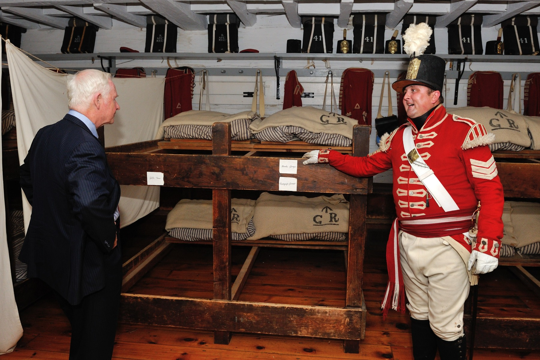 Fort George was completed and served as the headquarters for the Centre Division of the British Army during the War of 1812.During his visit, the Governor General toured the soldiers' barracks.