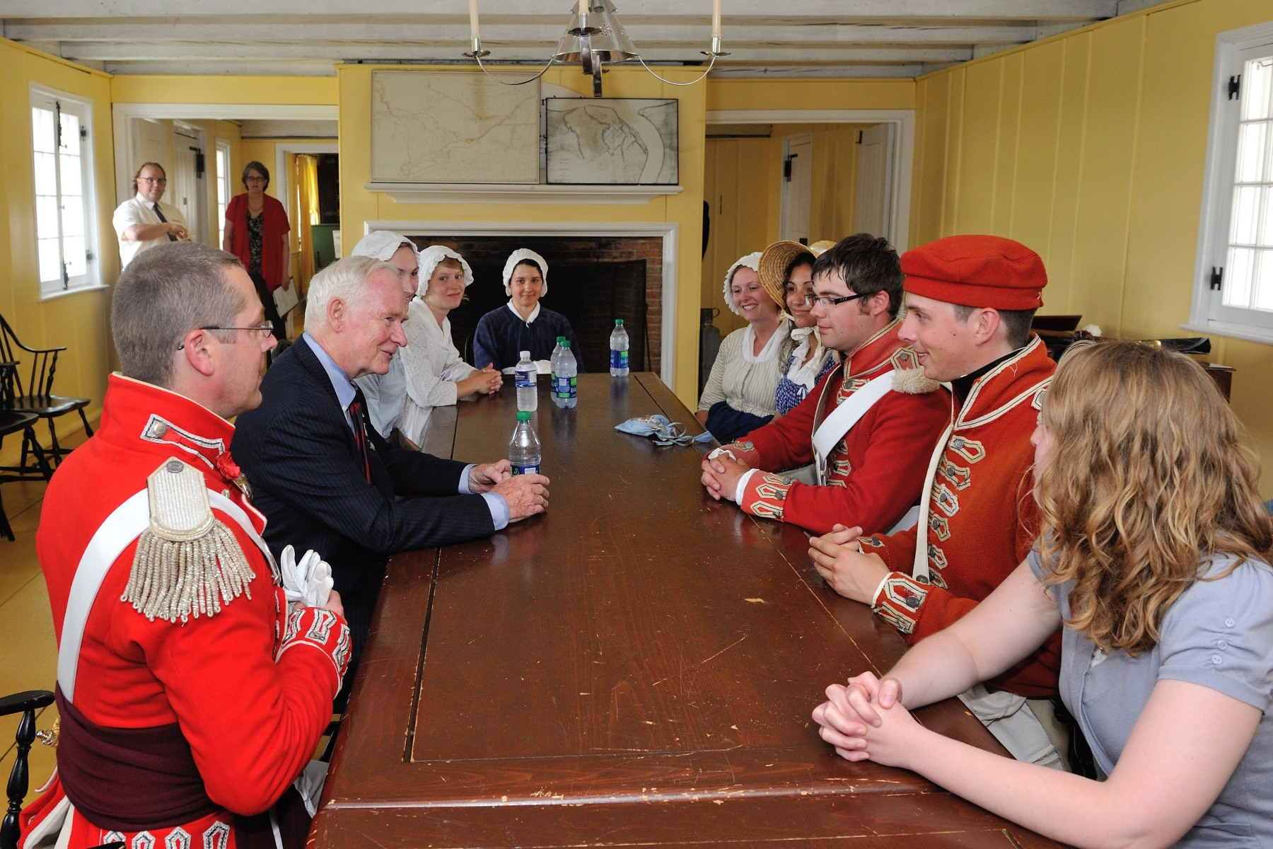 A discussion with His Excellency and Parks Canada interpretive guides on the importance of the War of 1812 today took place in the officer's quarters.