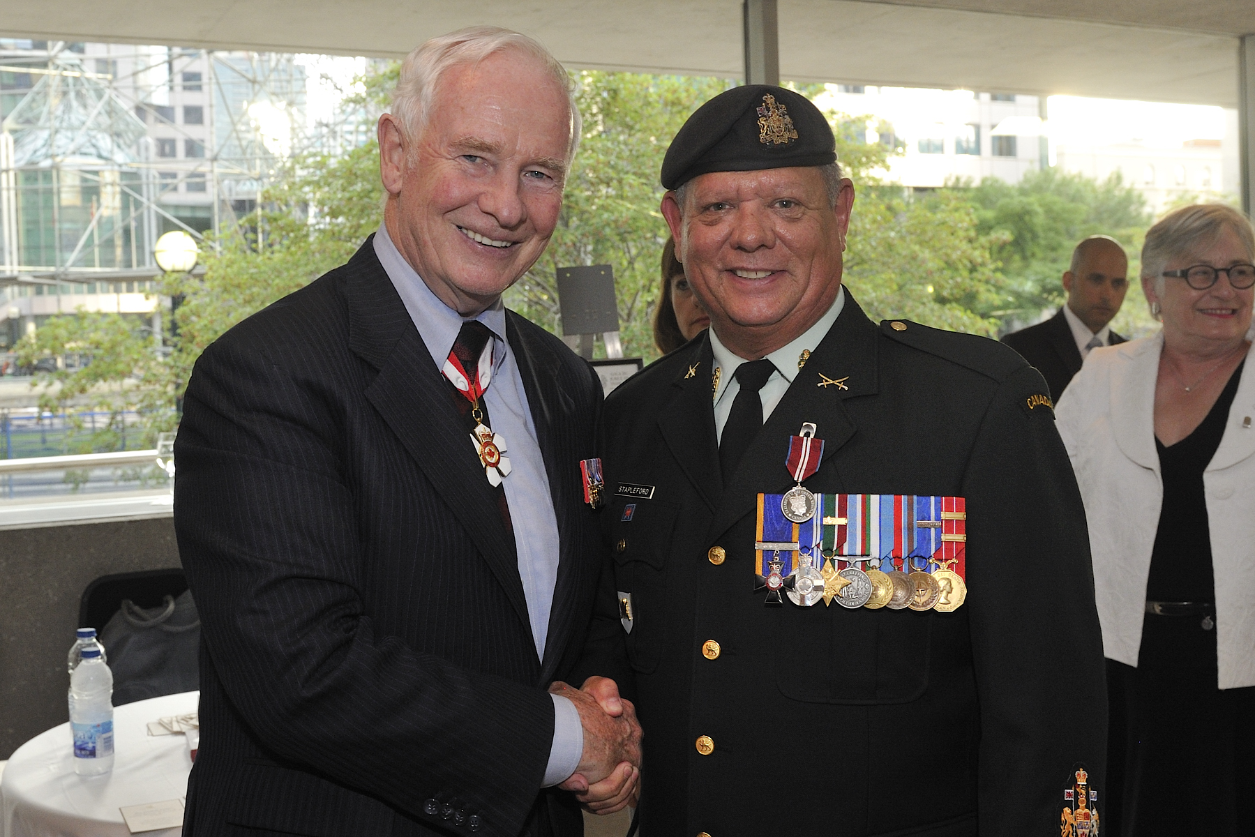 During the evening, over 600 recipients were presented with the Diamond Jubilee Medal. His Excellency presented a few of these medals to eminent Canadians. Chief Warrant Officer Andrew Peter Stapleford, M.M.M., M.S.M., C.D., was one of the recipients.