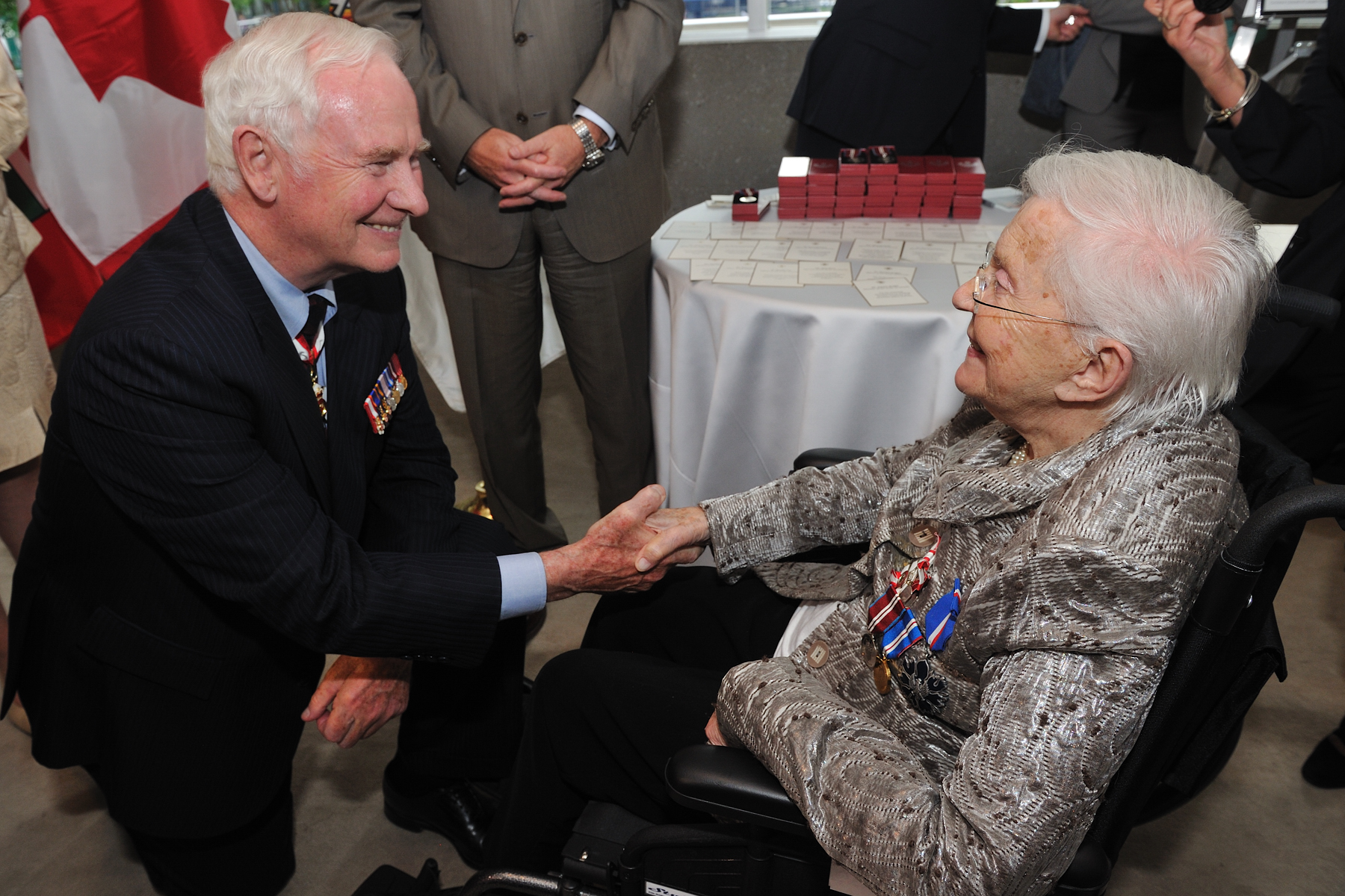 Elizabeth Ruth Bridgman, C.M., M.D., Member of the Order of Canada, had a chance to chat with His Excellency after receiving the Diamond Jubilee Medal.
