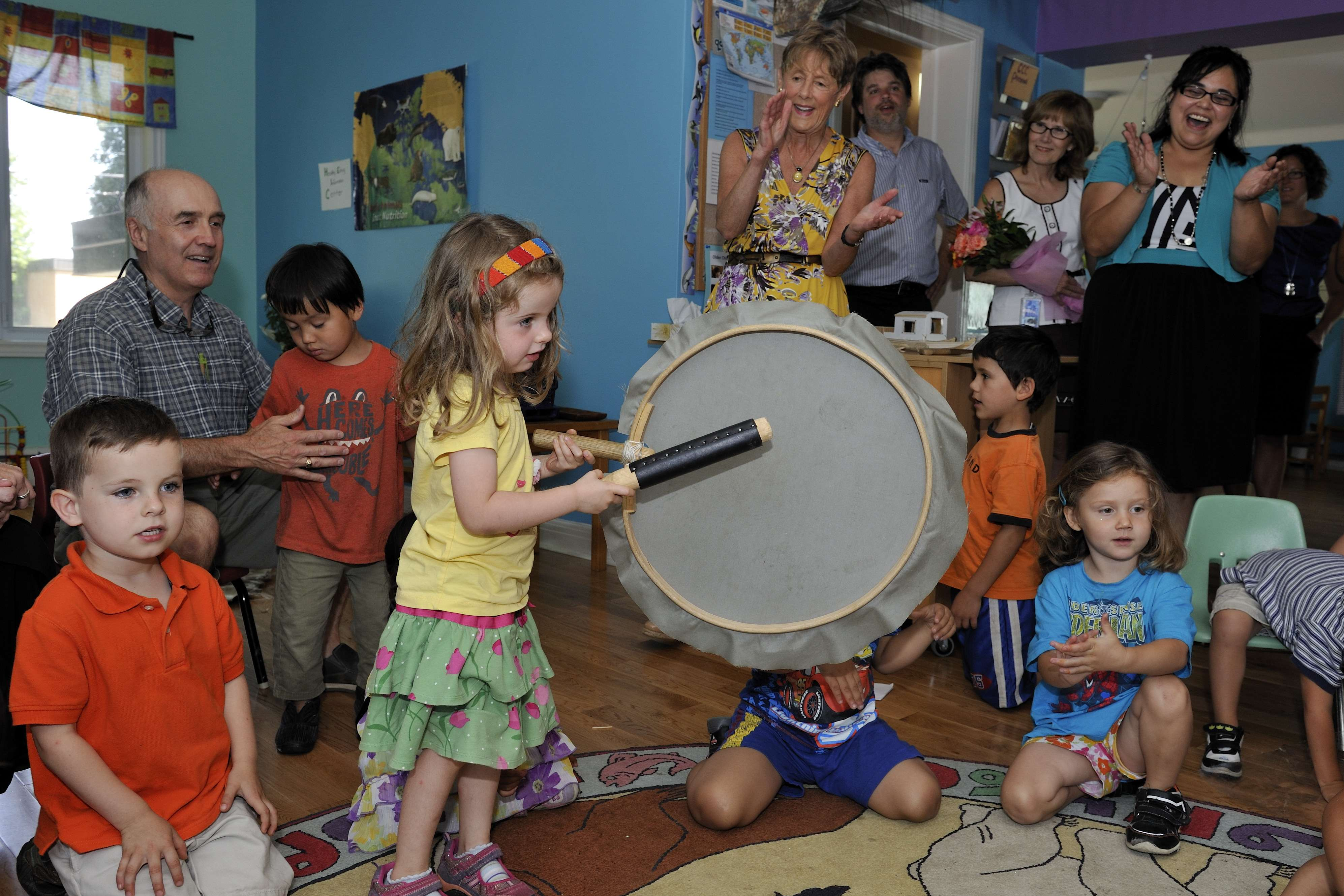 Ms. Johnston visited the centre with two of her grandchildren who both enjoyed drumming.