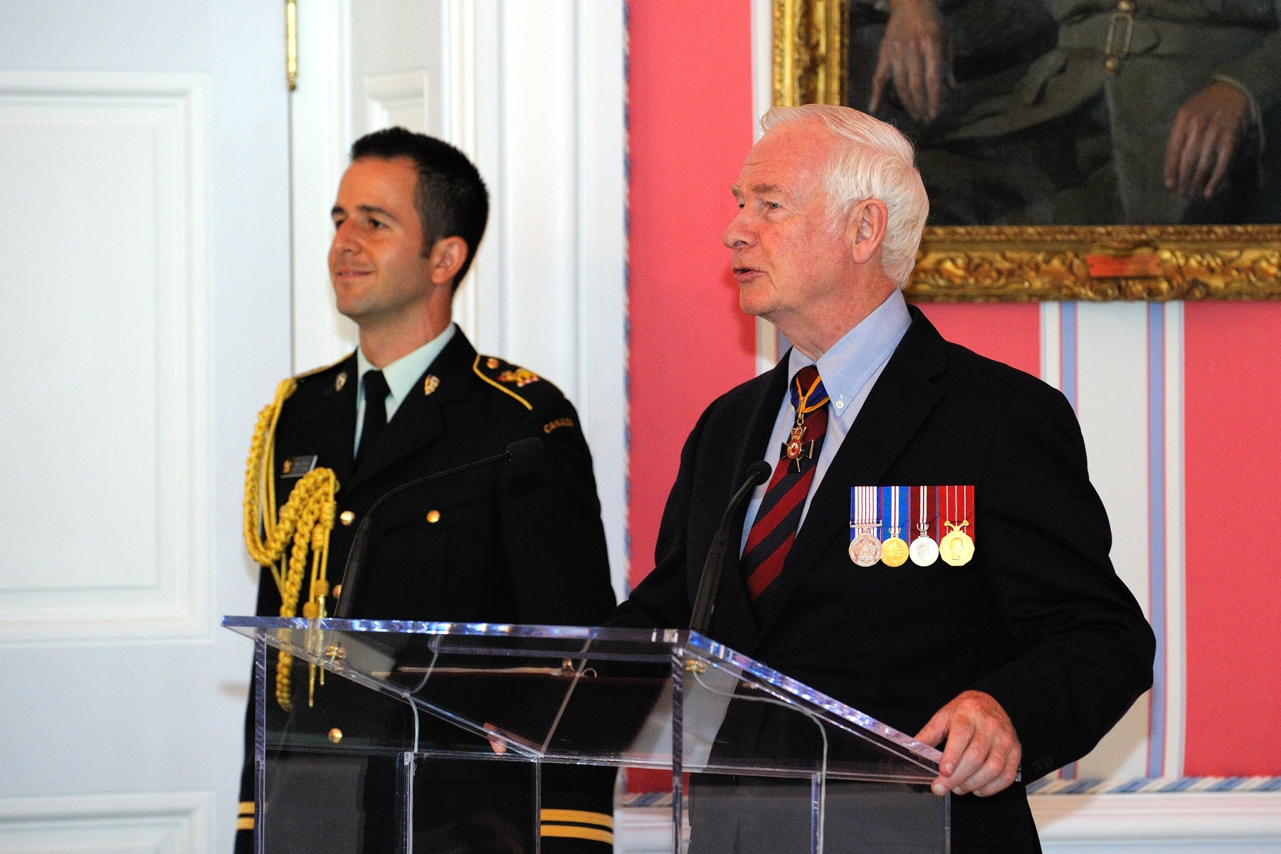 """We honour today your bravery in the field, your actions which directly enhanced the safety of your comrades-in-arms,"" said the Governor General. ""Yet, I would be remiss if I did not also honour how you have defended the ideals that we hold dear and how you have helped to promote peace, sometimes by the strength—by the virtue—of your character alone."""