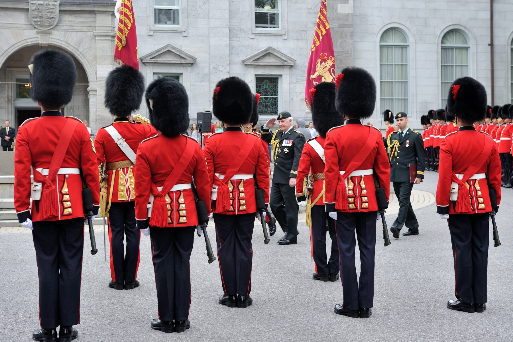 The Ceremonial Guard performs a variety of public duties in Ottawa between late June and the end of August. In addition to sentry duty at Rideau Hall, they perform in the daily Changing of the Guard ceremony on Parliament Hill at 10:00 a.m.; on sentry duty at the Tomb of the Unknown Soldier at the National War Memorial from 9 a.m. to 5 p.m.; in the mounting of guards of honour during visits by dignitaries; and in public concerts, military functions or other ceremonies throughout the National Capital Region.