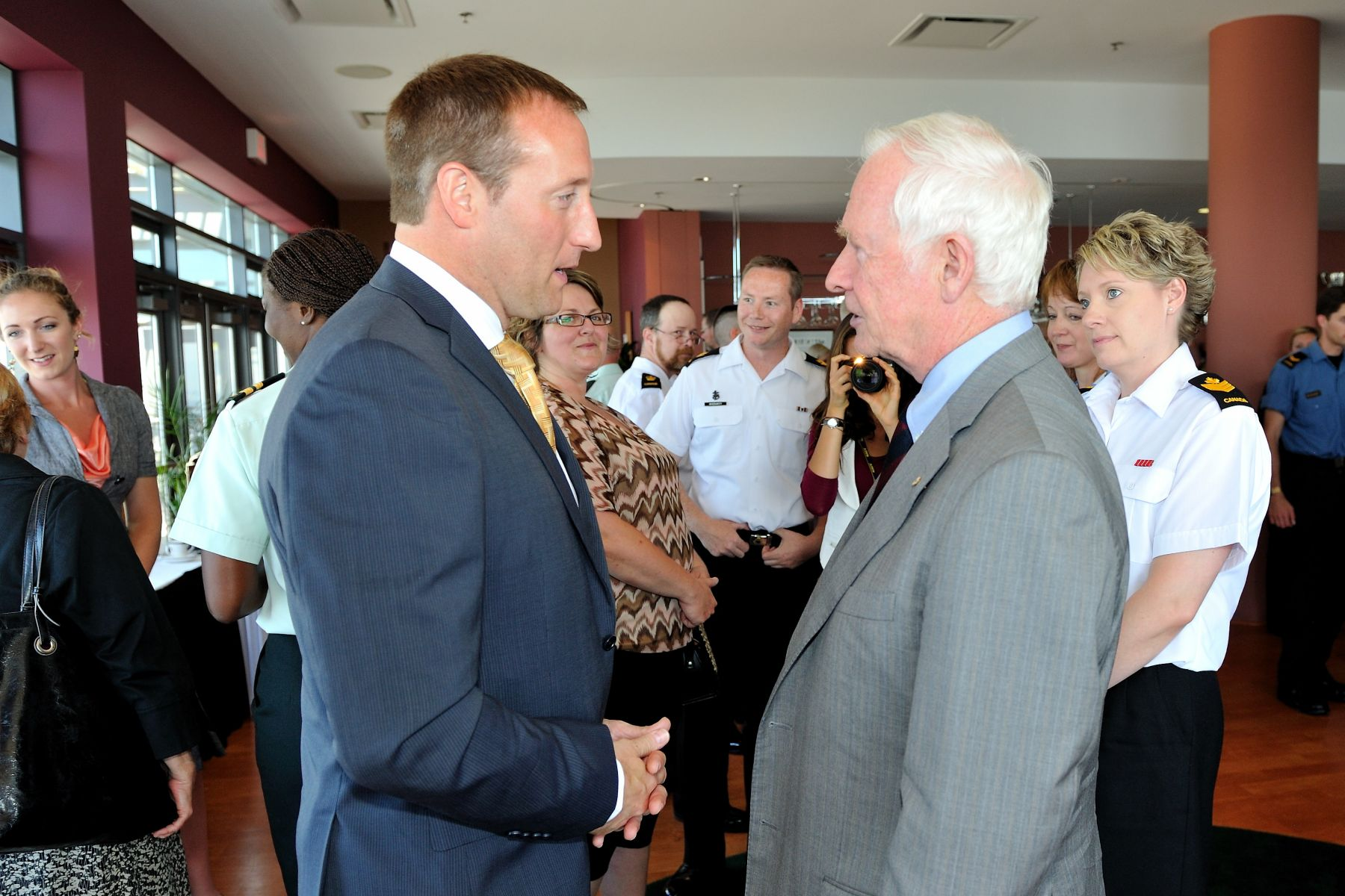 During a luncheon that followed the briefing, His Excellency had a chance to speak with the Honourable Peter MacKay, Minister of National Defence, also in attendance.