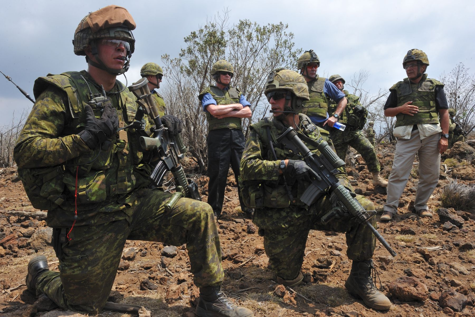 The Governor General, accompanied by the Chief of the Defence Staff, General Walt  Natynczyk, then proceeded to view a Platoon Live-Fire exercise with Canadian land forces, among them the 2nd Battalion of Princess Patricia's Canadian Light Infantry (2 PPCLI).
