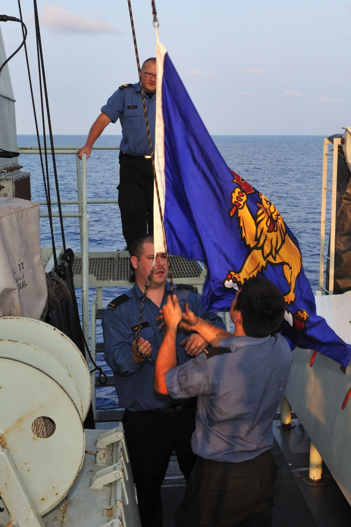 At the end of the day, the Governor General's flag was hoisted upon His Excellency's arrival aboard Her Majesty's Canadian Ship (HMCS) Ottawa.