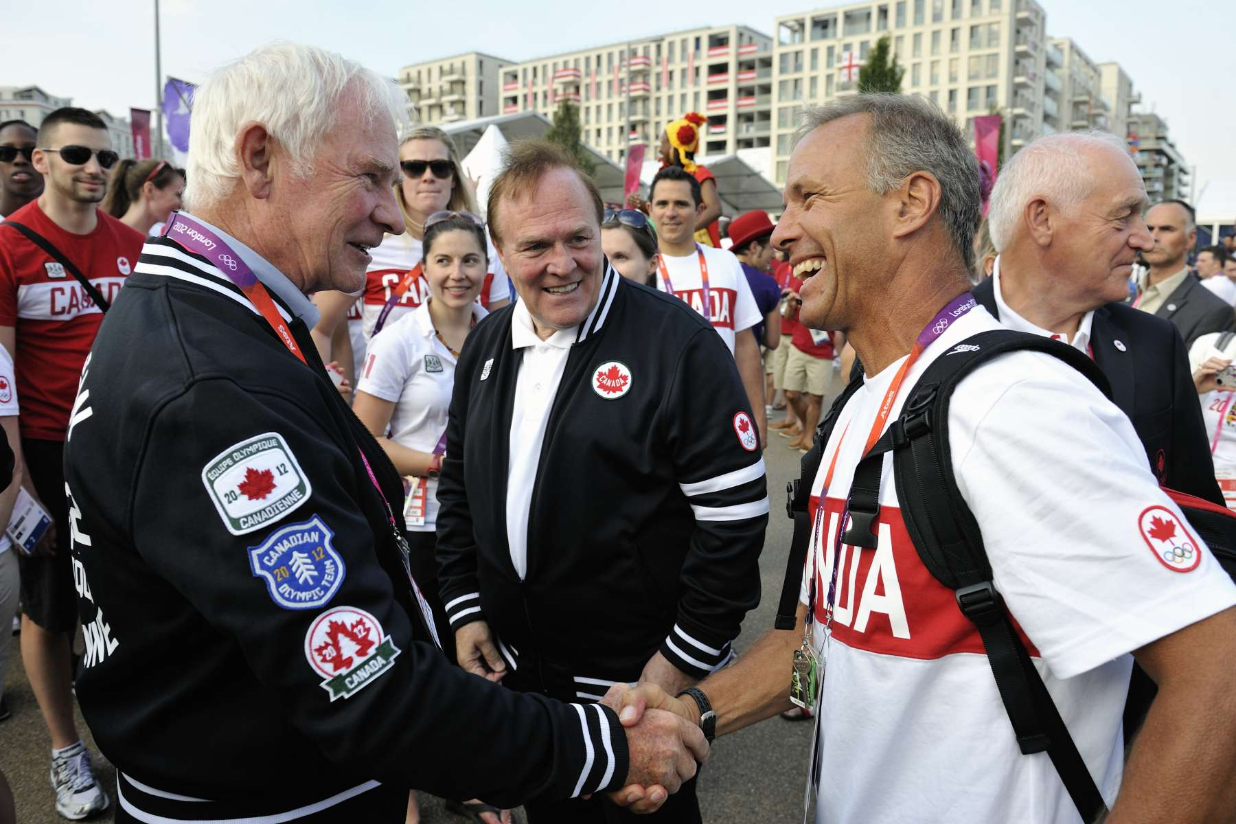 During the Canadian Olympic Team Welcome Ceremony, the Governor General met with CEO and National Coach of Swimming Canada Pierre Lafontaine.