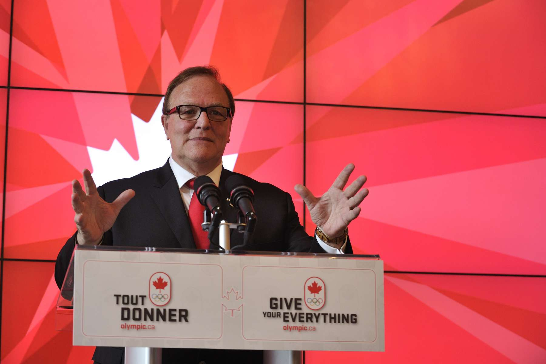 President of the Canadian Olympic Committee and host of the event Marcel Aubut also said a few words.