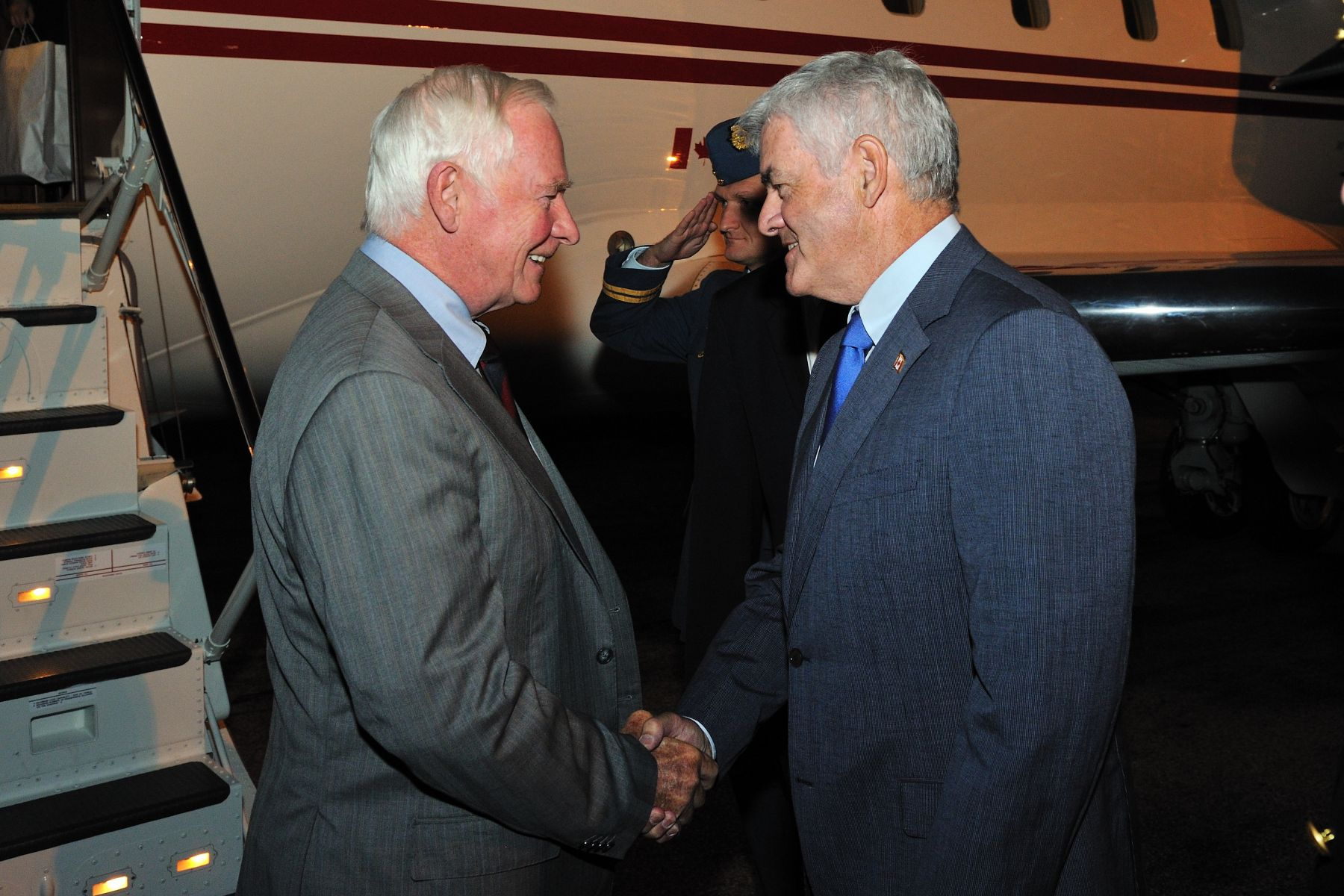 Upon his arrival in France, the Governor General was greeted by Mr. Lawrence Cannon, Canadian Ambassador to France.