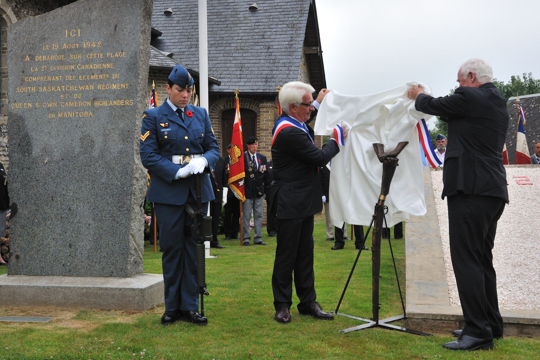Two commemorative sculptures were unveiled during the event.