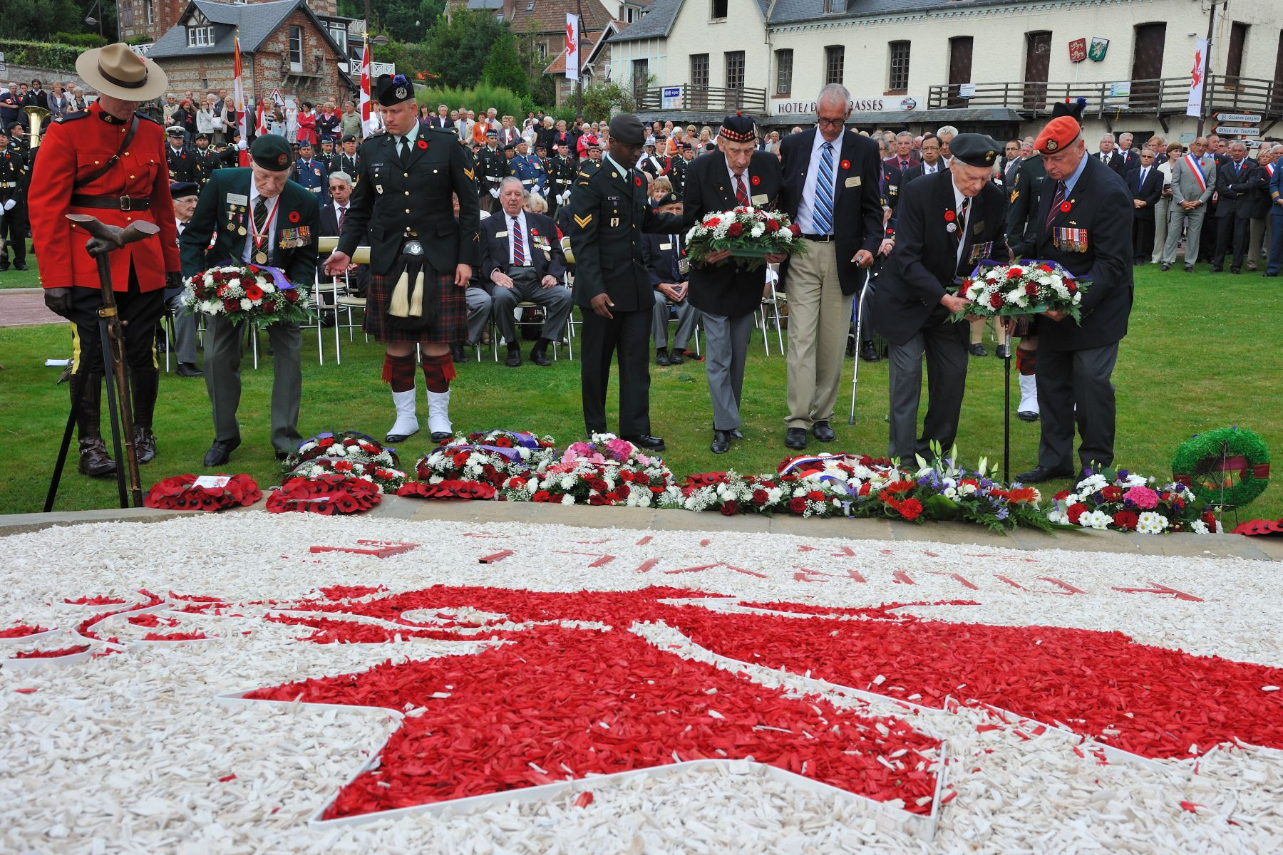Veterans and other members of the delegation also laid wreaths at the Pourville Memorial.